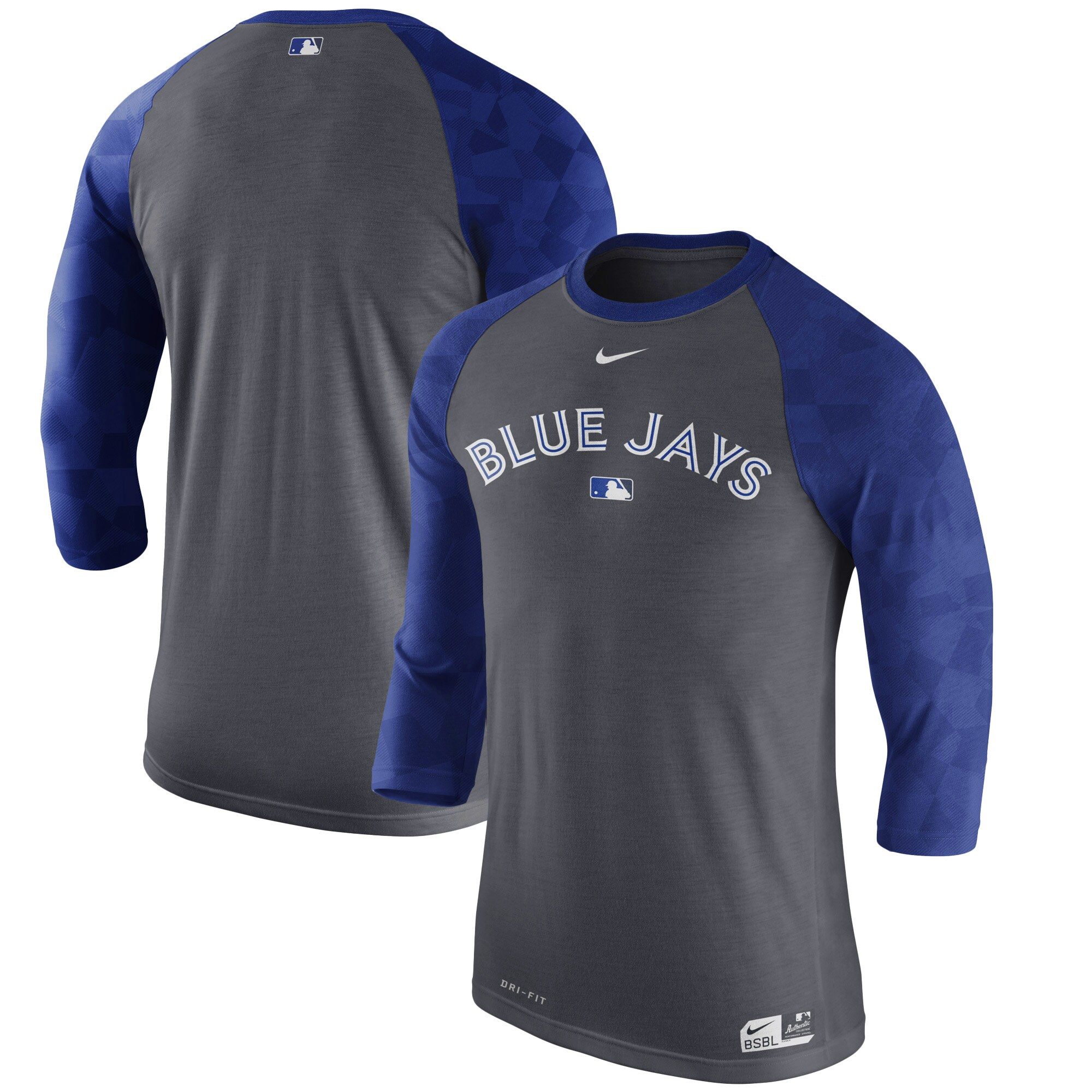 Toronto Blue Jays Nike Authentic Collection Legend 1.7 3/4-Sleeve Raglan Performance T-Shirt - Charcoal