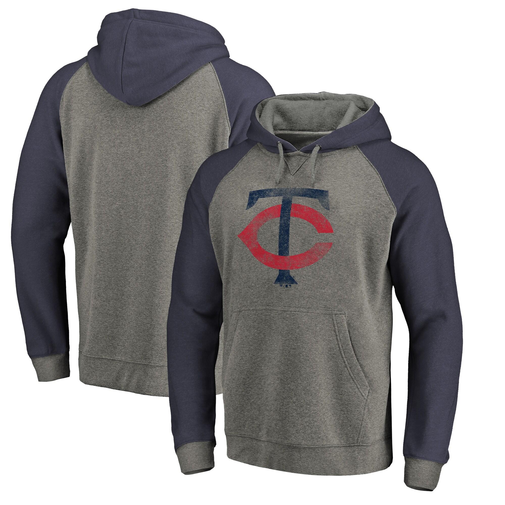 Minnesota Twins Fanatics Branded Distressed Team Logo Tri-Blend Raglan Pullover Hoodie - Gray/Navy