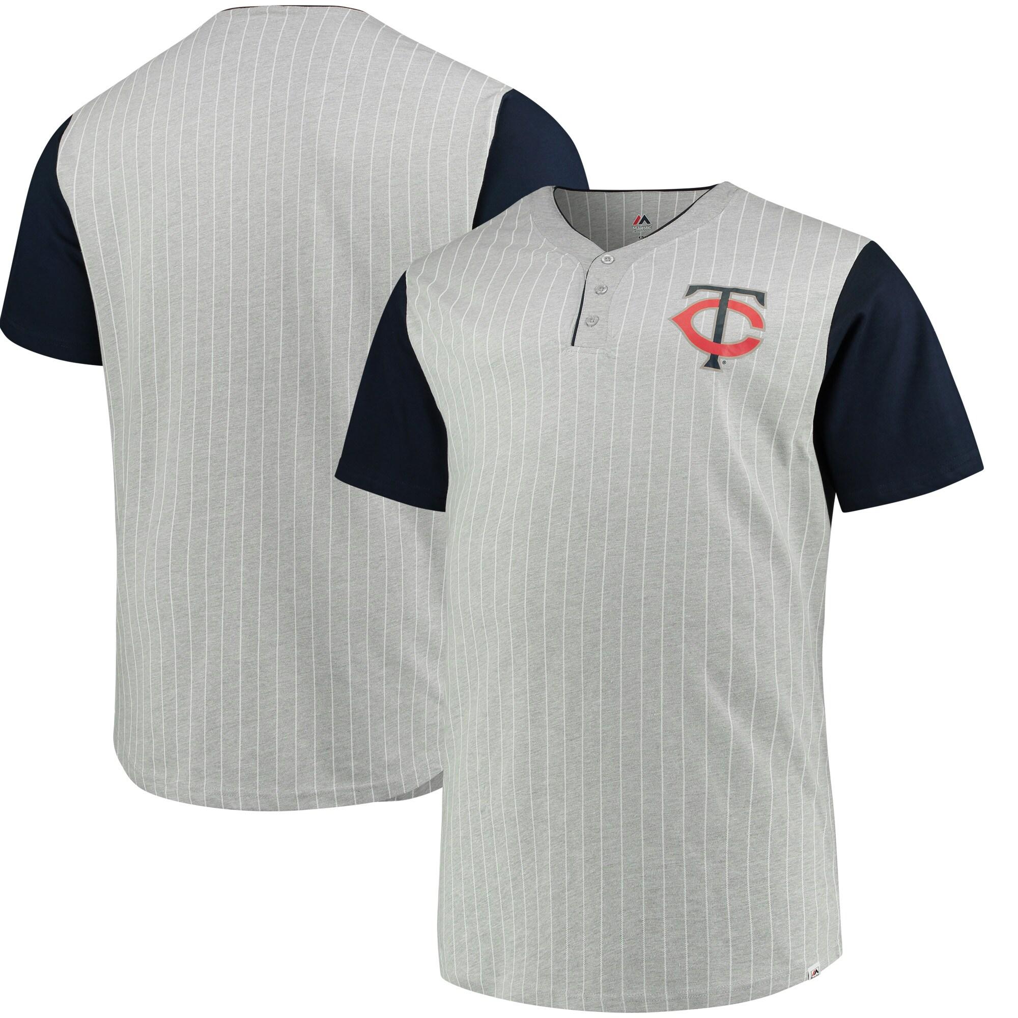 Minnesota Twins Majestic Big & Tall Life or Death Pinstripe Henley T-Shirt - Gray/Navy