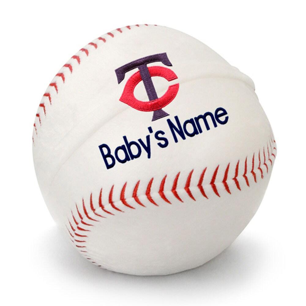 Minnesota Twins Personalized Plush Baby Baseball - White