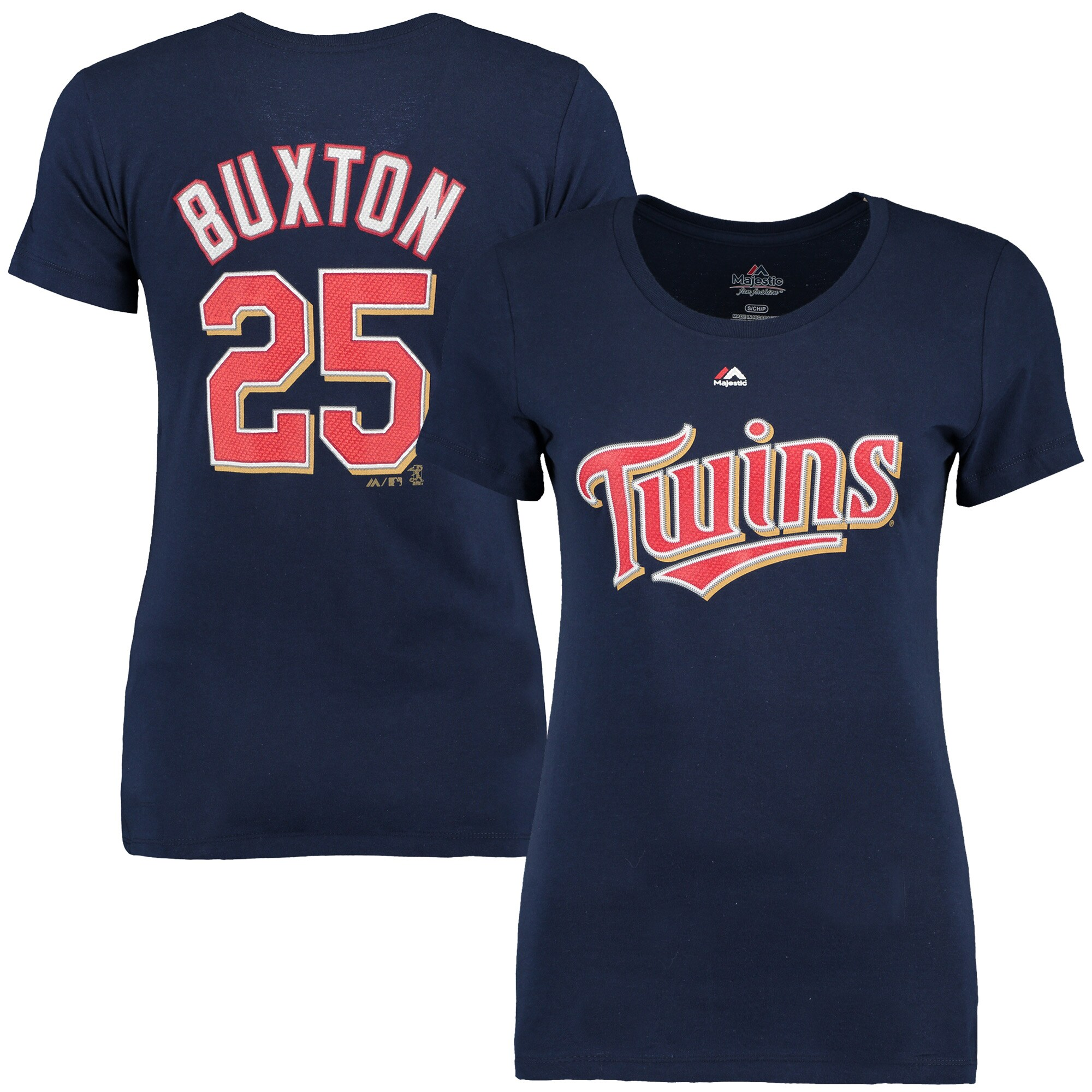Byron Buxton Minnesota Twins Majestic Women's Name & Number T-Shirt - Navy