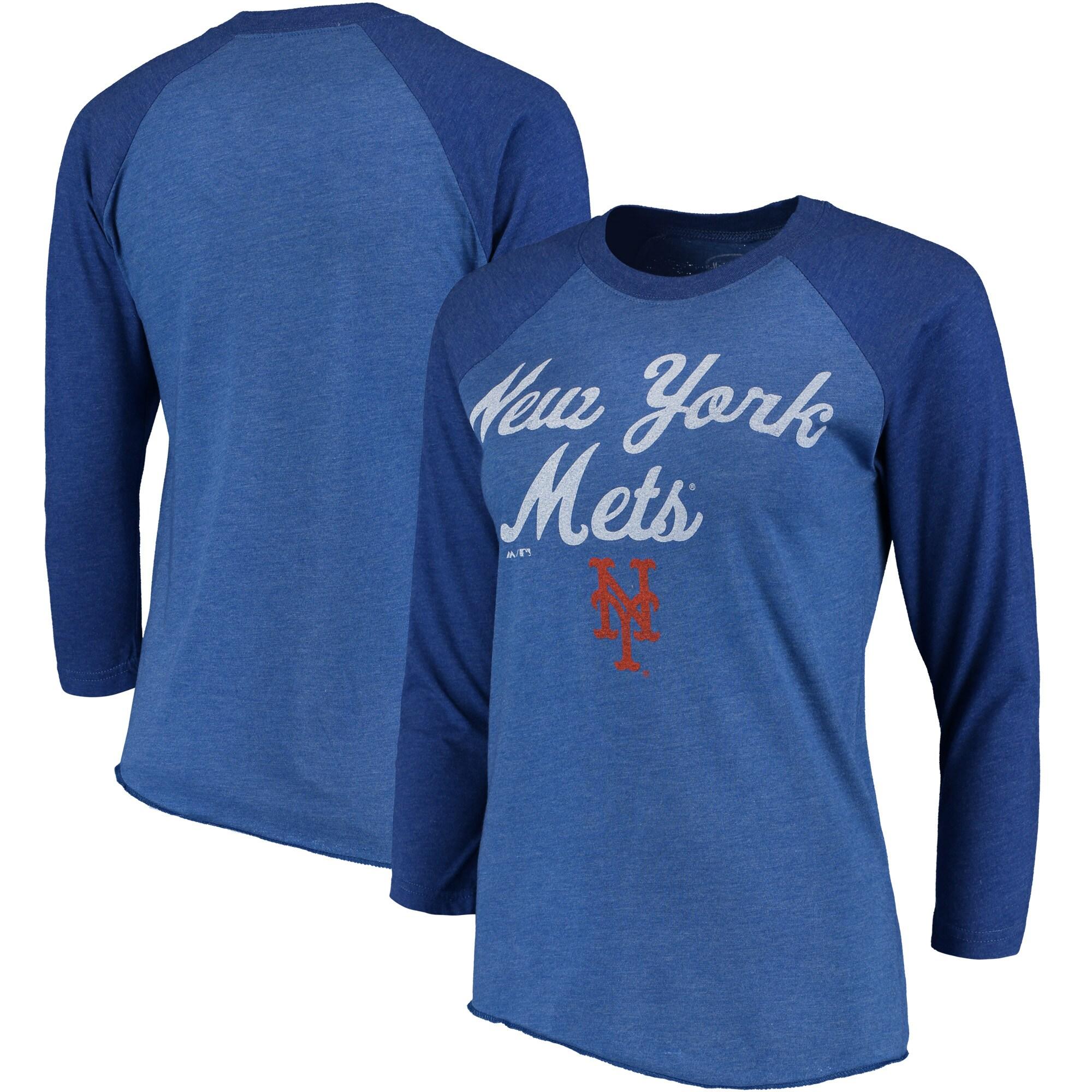 New York Mets Majestic Threads Women's 3/4-Sleeve Raglan T-Shirt - Royal