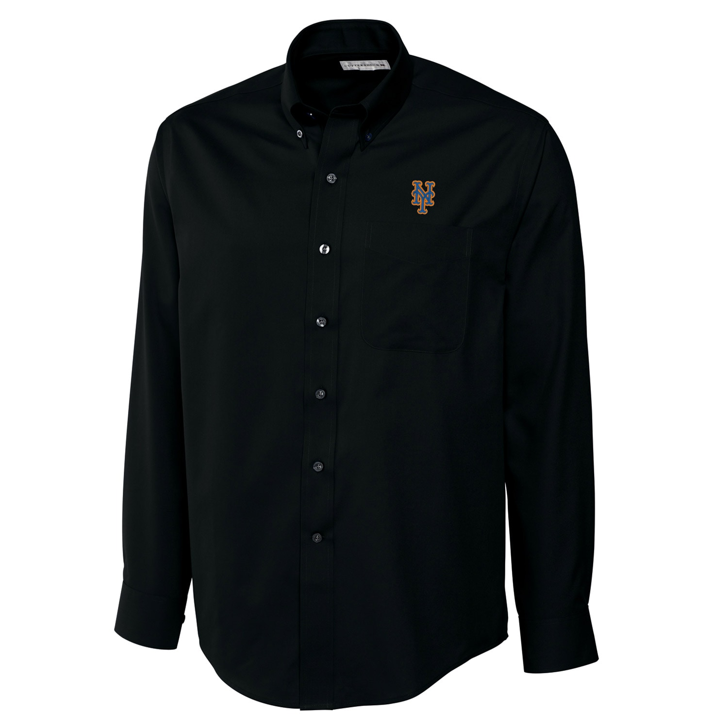 New York Mets Cutter & Buck Big & Tall Epic Easy Care Fine Twill Long Sleeve Shirt - Black