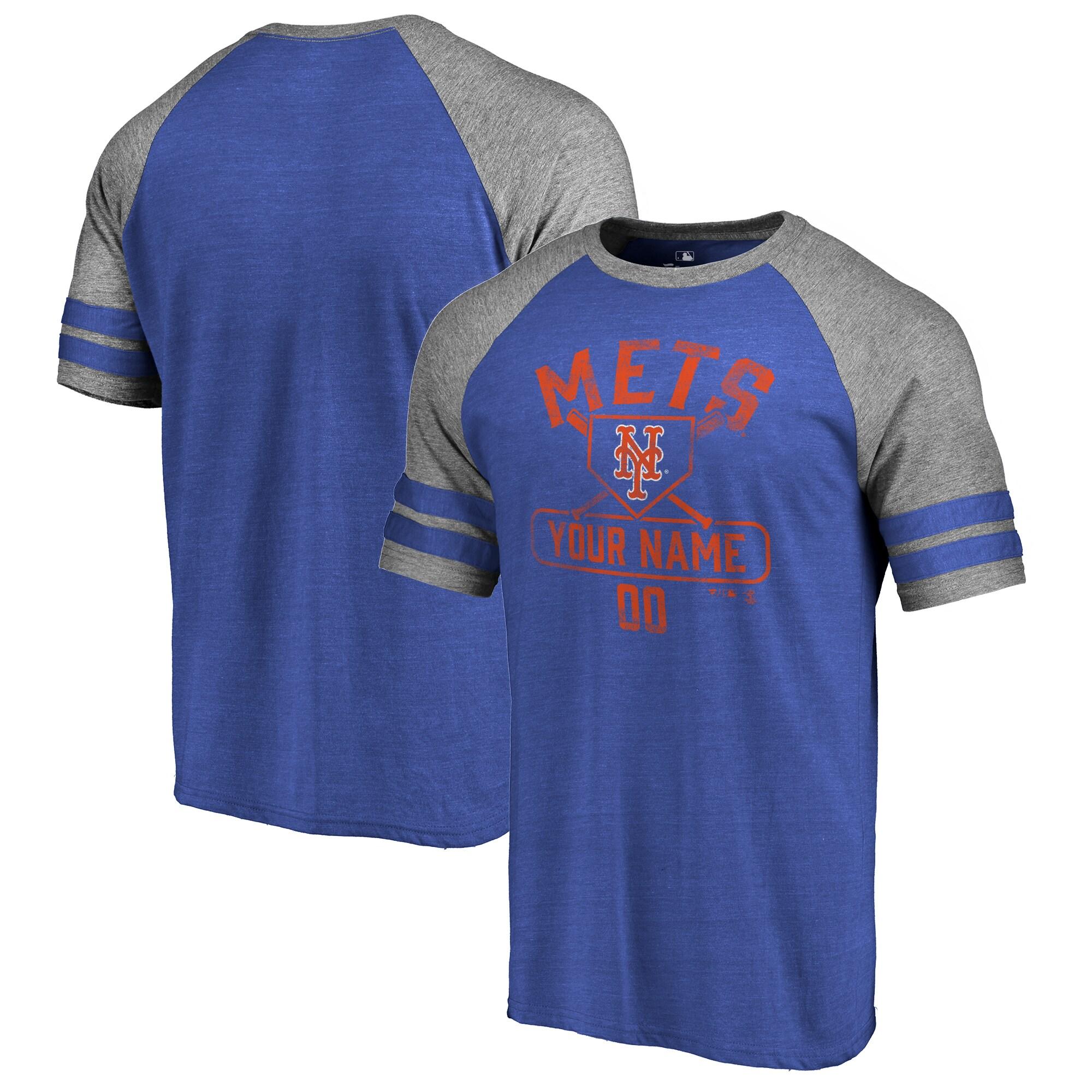 New York Mets Fanatics Branded Personalized Base Runner Tri-Blend Raglan T-Shirt - Royal/Ash