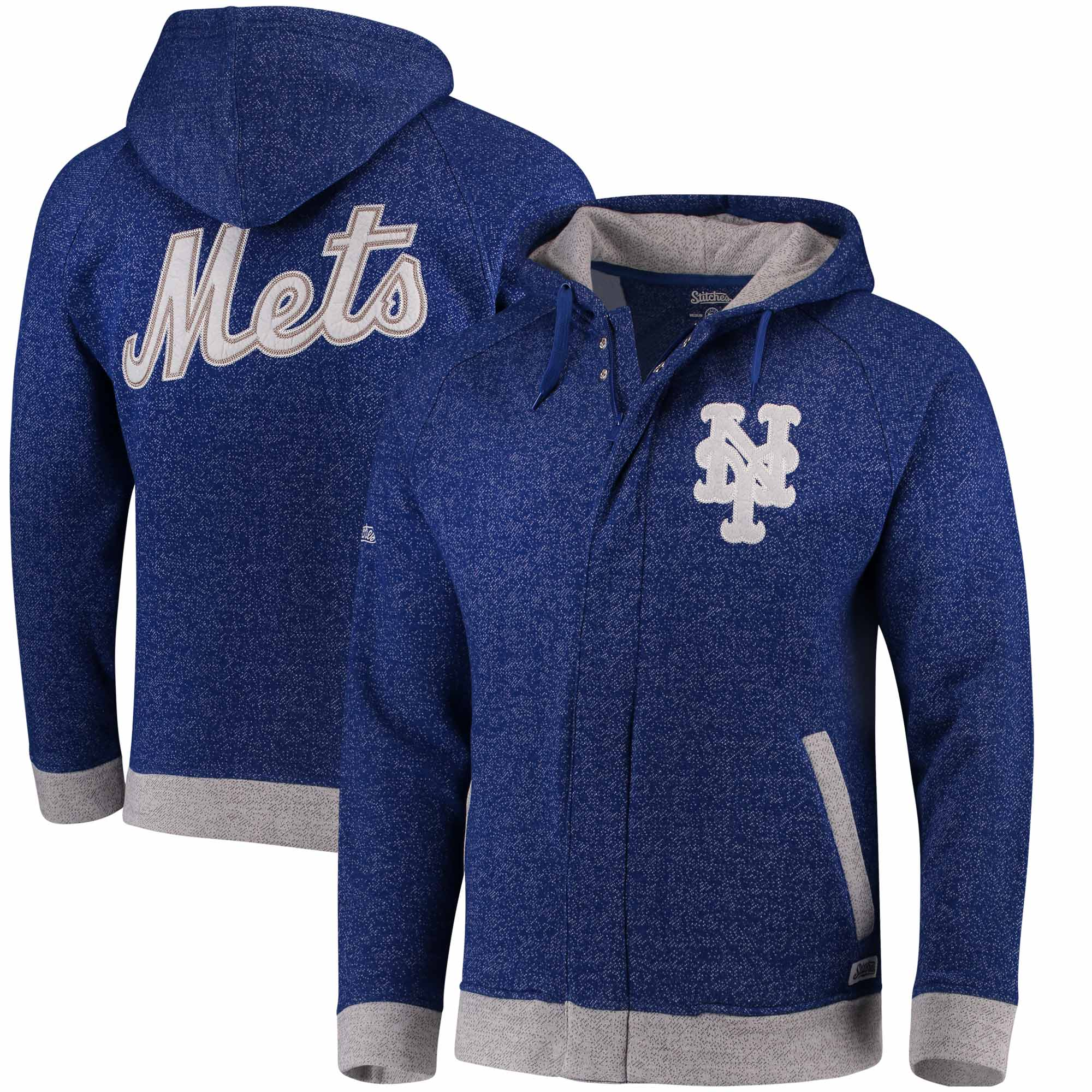 New York Mets Stitches Twisted Yarn Full-Zip Hoodie - Royal/Natural