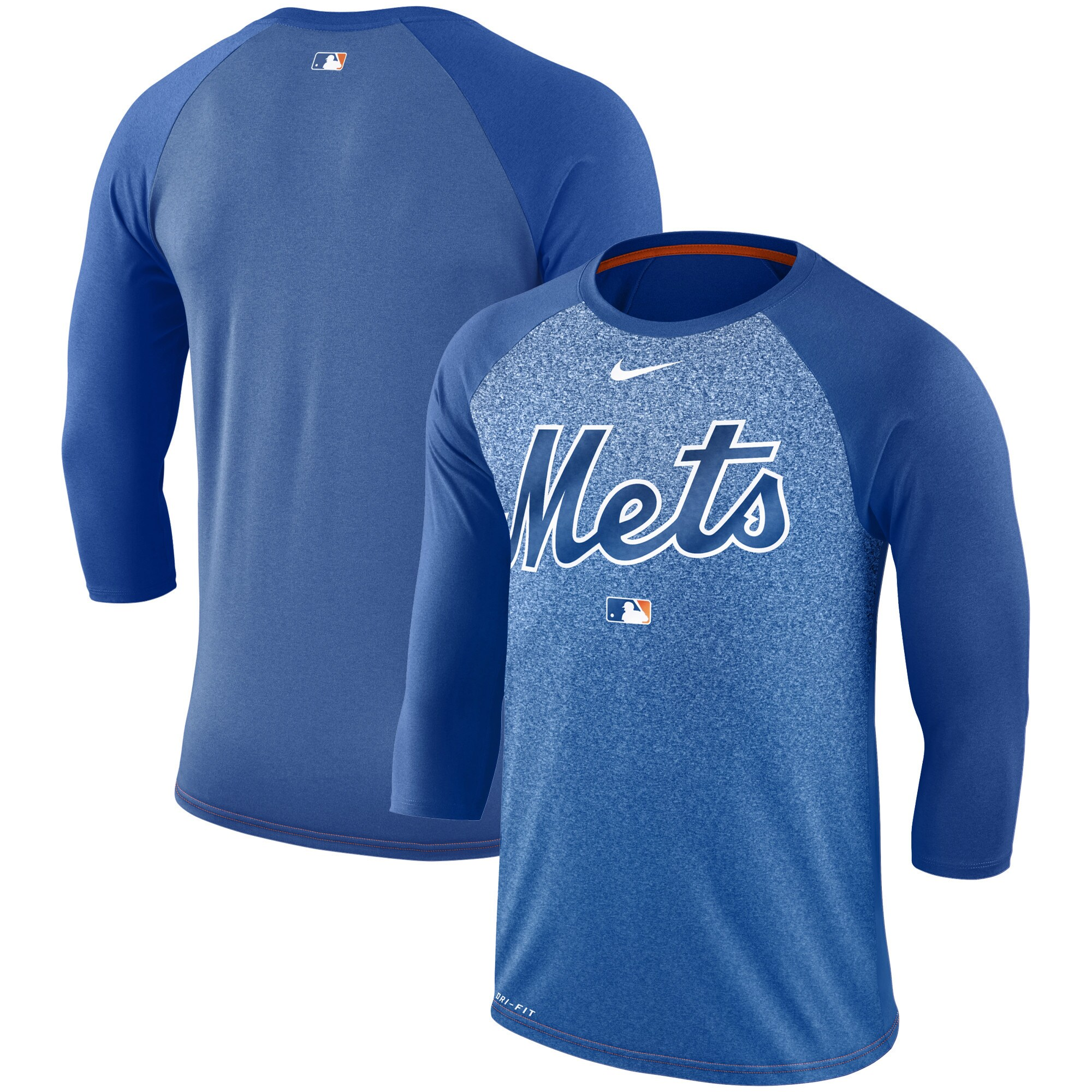 New York Mets Nike Authentic Collection Legend 3/4-Sleeve Raglan Performance T-Shirt - Royal