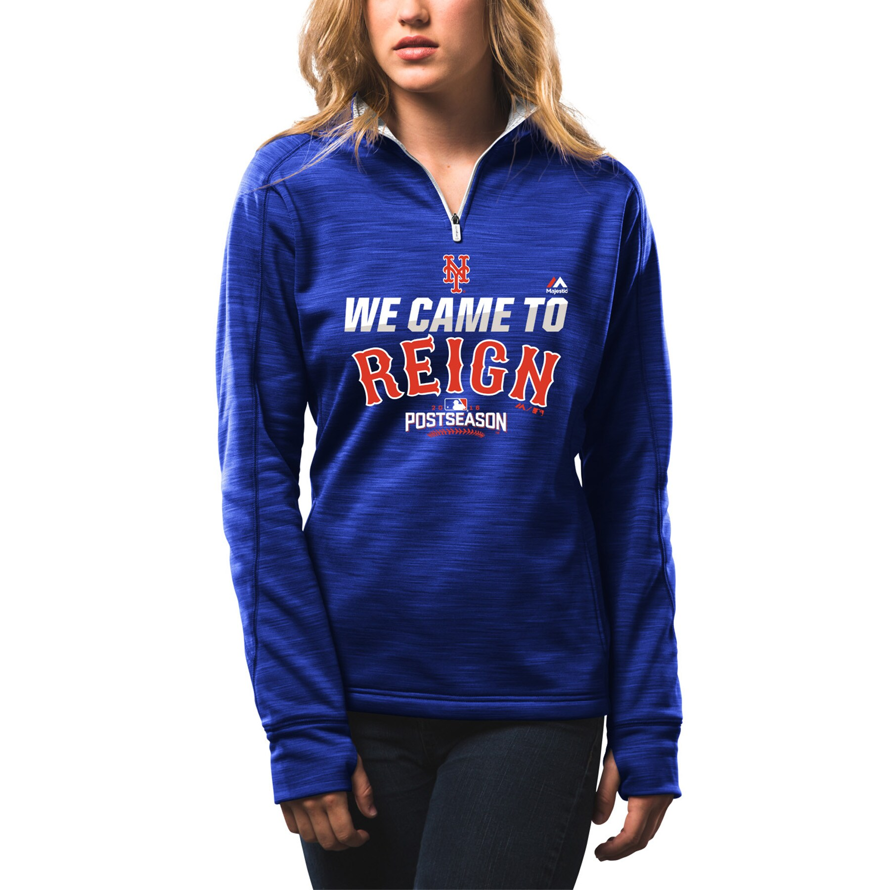 New York Mets Women's 2016 Postseason Participant We Came to Reign Quarter-Zip Streak Fleece - Royal