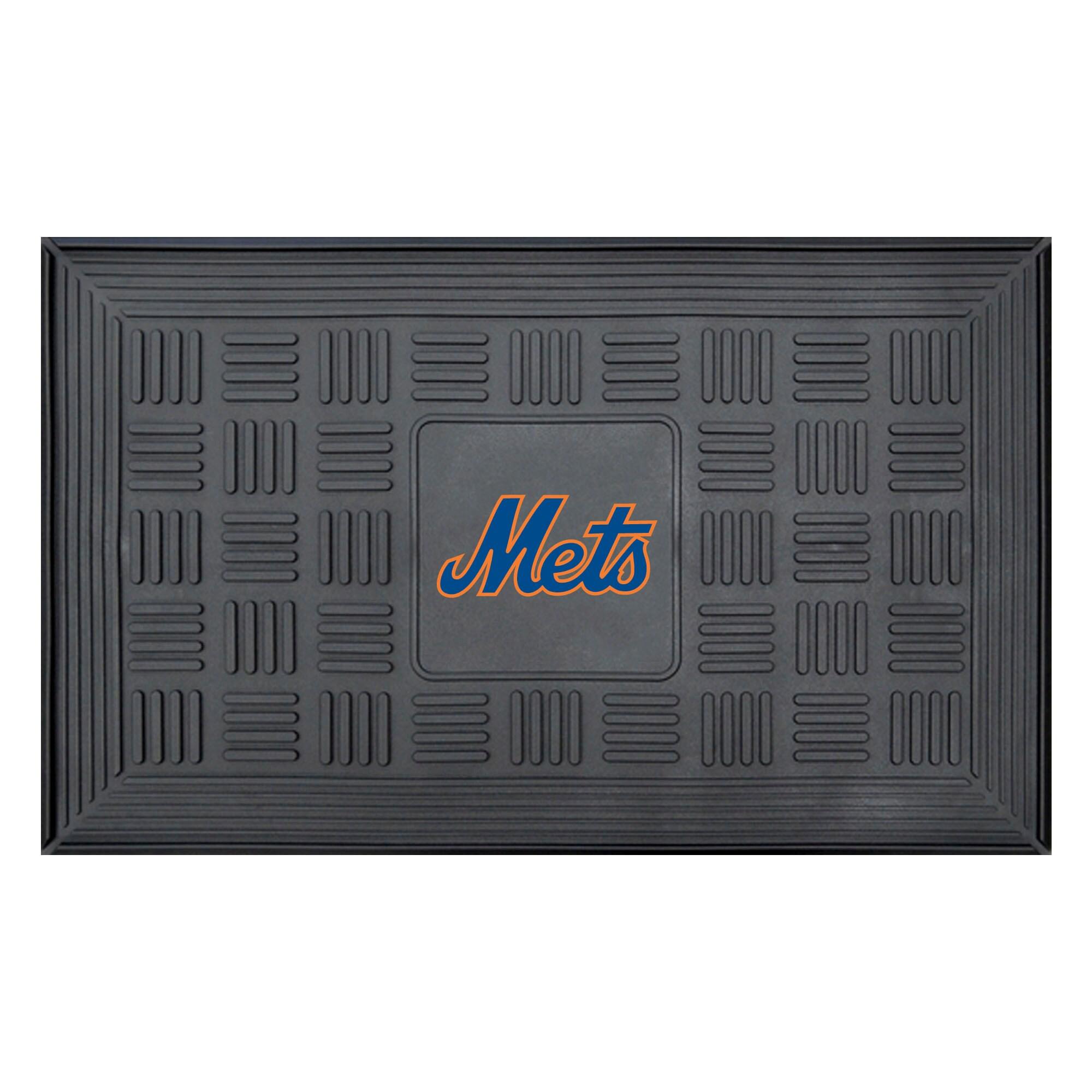 """New York Mets 19"""" x 30"""" Vinyl Medallion Door Mat - Black"""