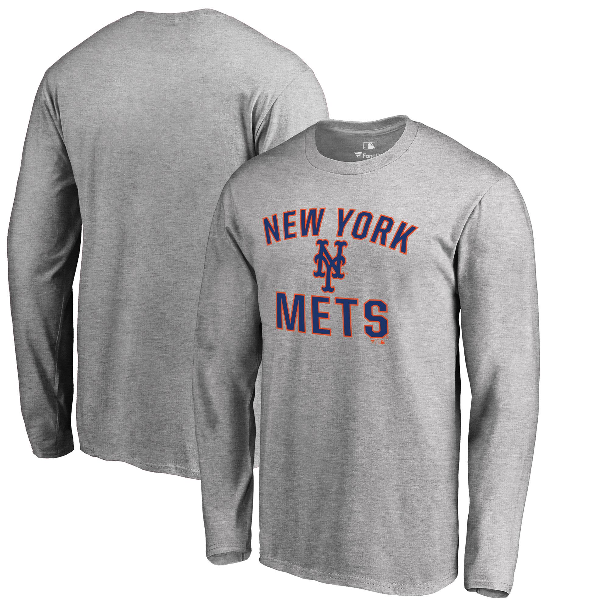 New York Mets Big & Tall Victory Arch Long Sleeve T-Shirt - Ash