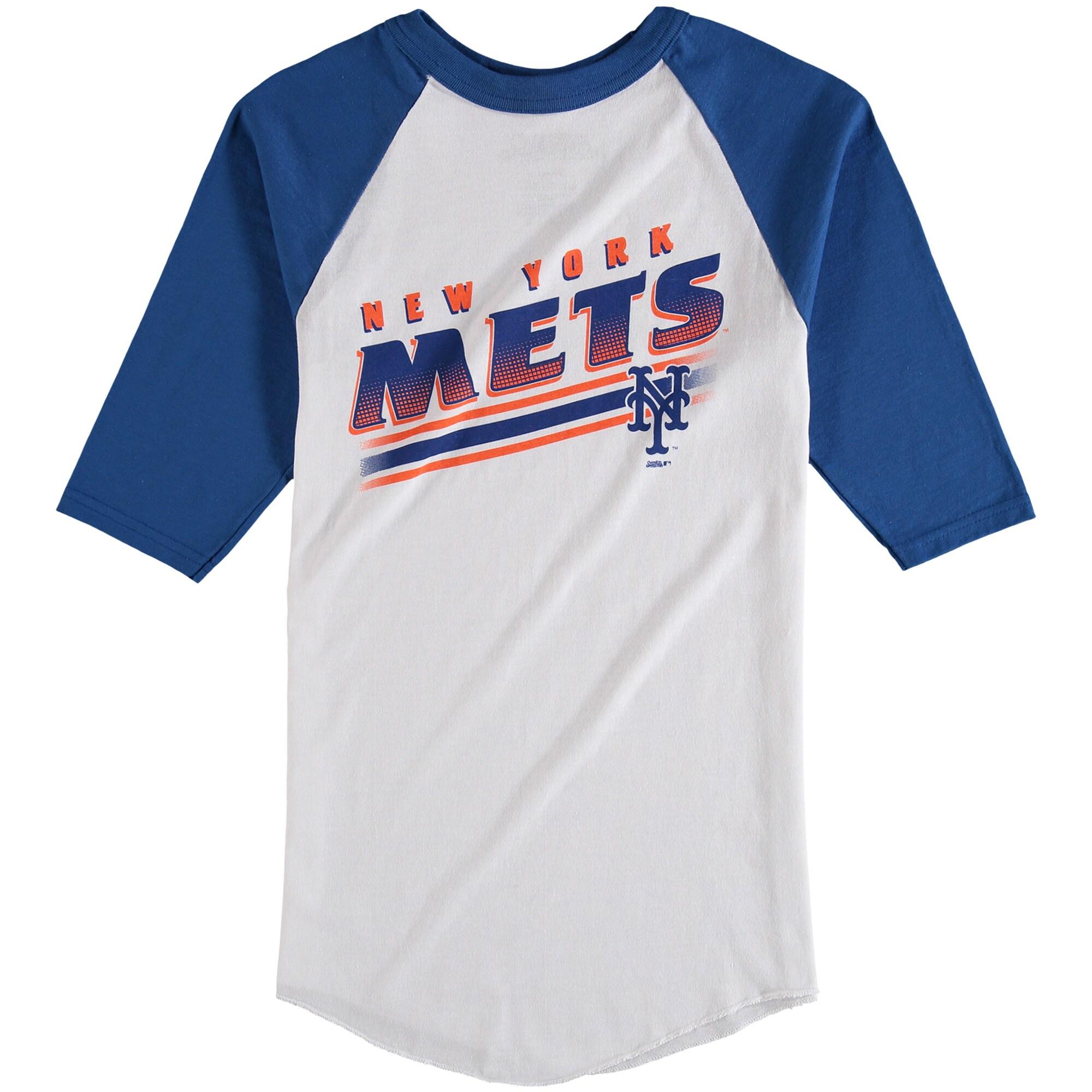 New York Mets Stitches Youth 3/4-Sleeve Raglan T-Shirt - White/Royal