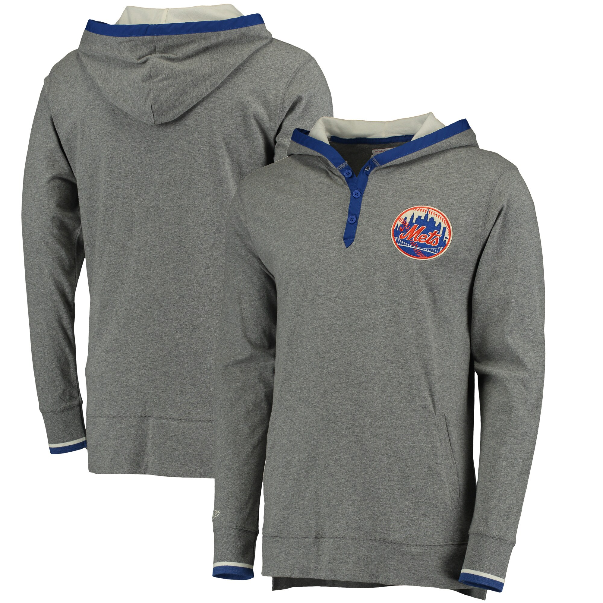 New York Mets Mitchell & Ness Seal The Win Hoodie - Gray