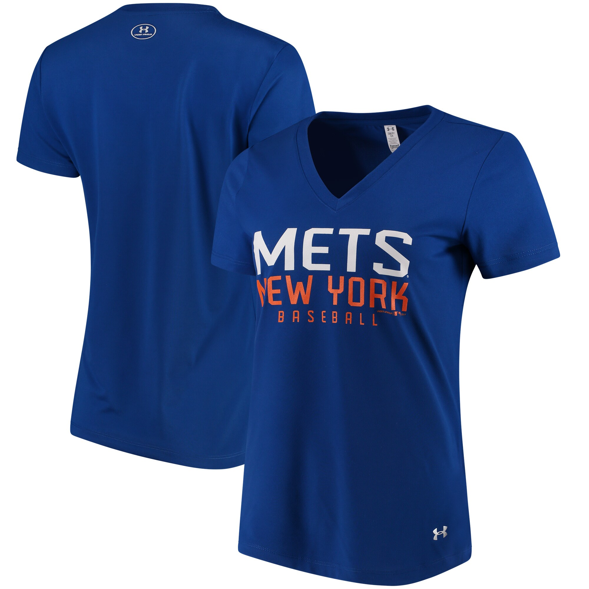 New York Mets Under Armour Women's Tech Performance V-Neck T-Shirt - Royal