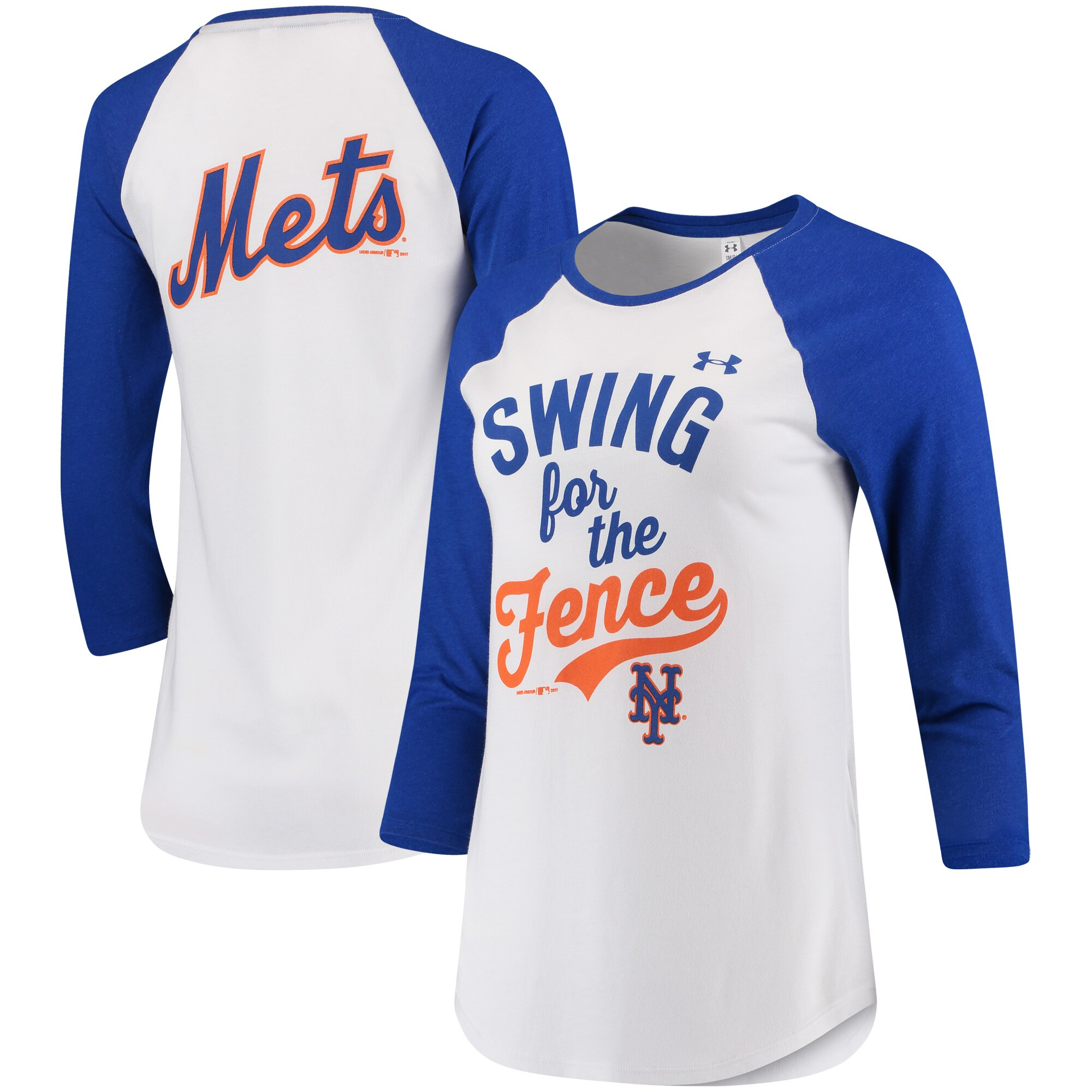 New York Mets Under Armour Women's Baseball 3/4-Sleeve T-Shirt - White