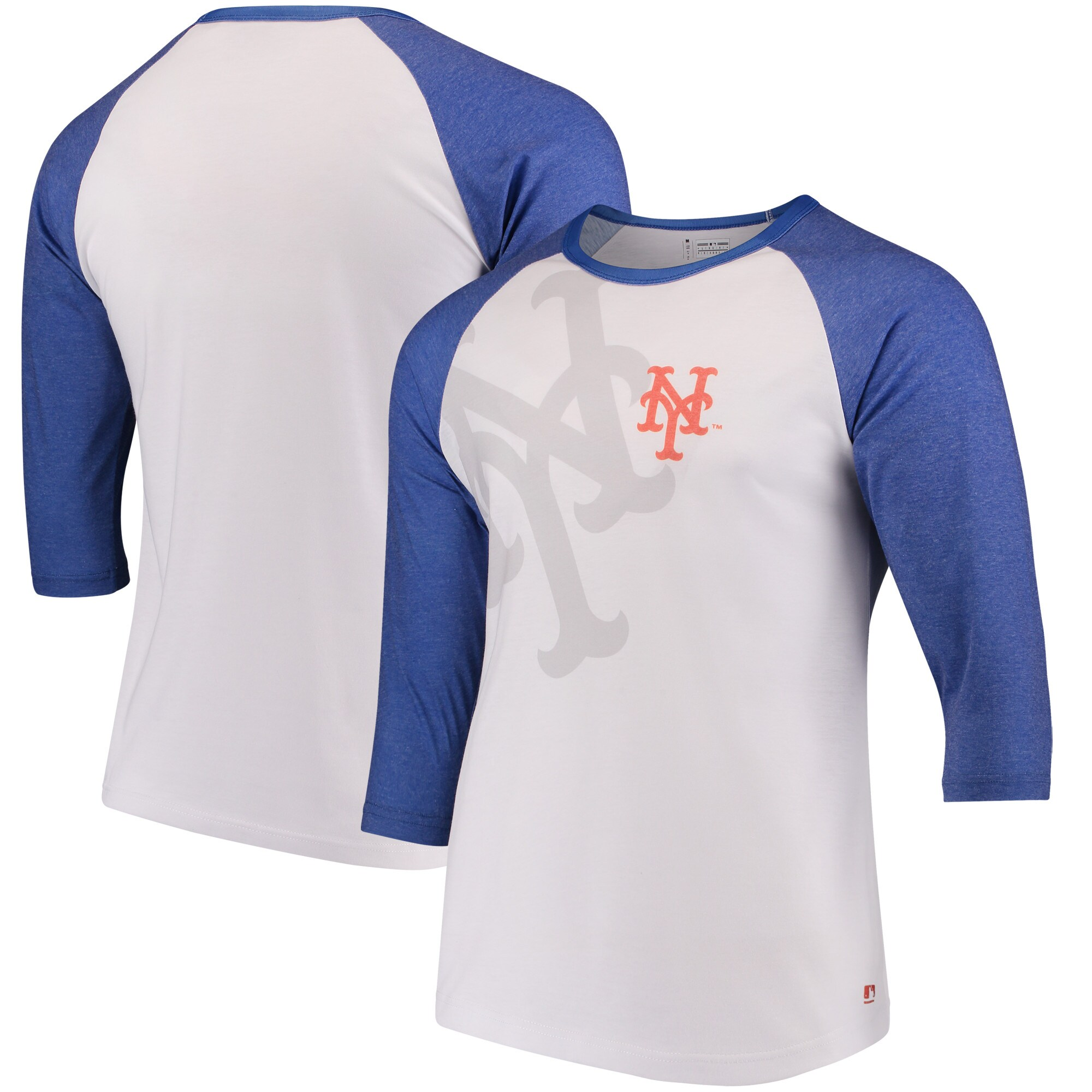 New York Mets Baseball 3/4-Sleeve Raglan T-Shirt - White/Royal