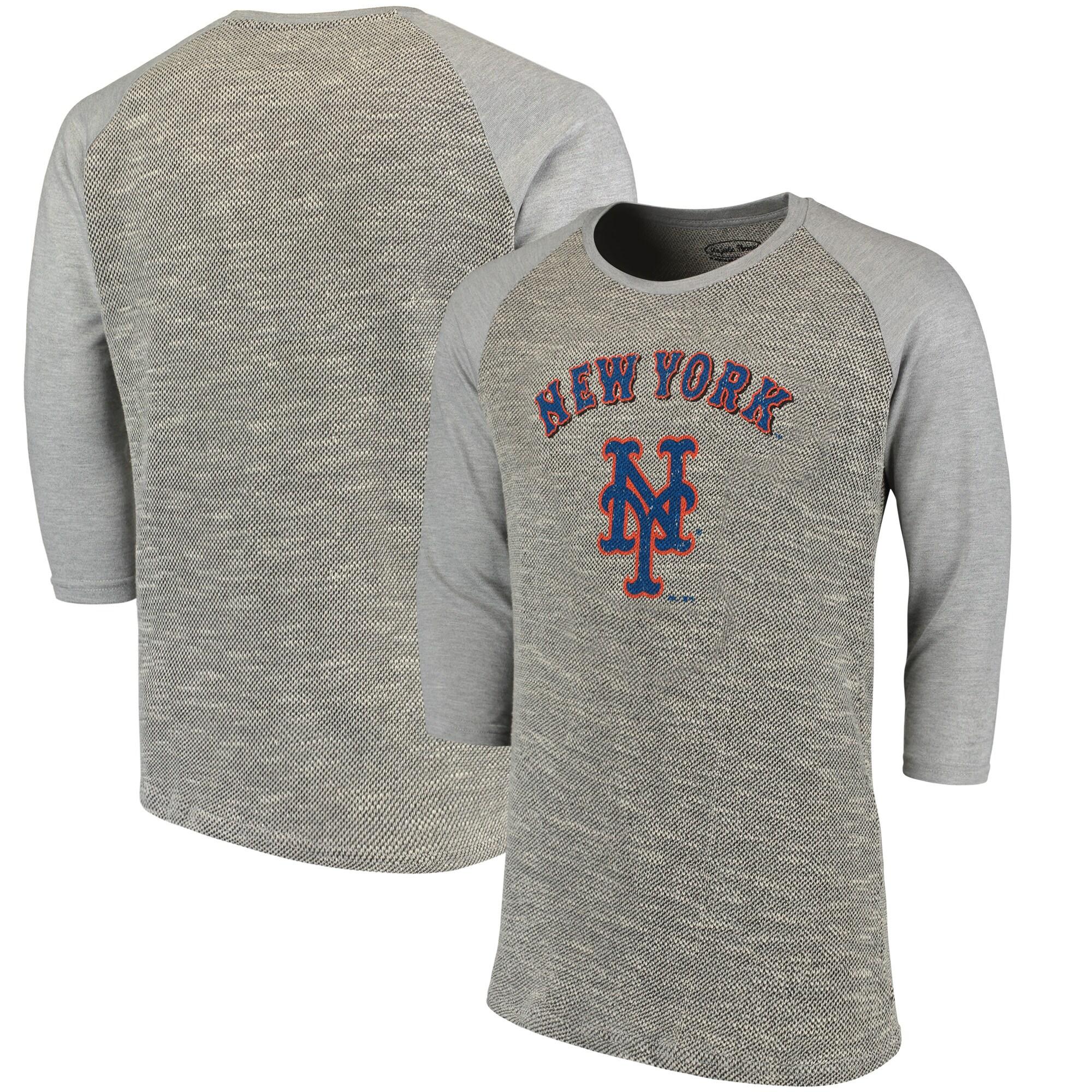 New York Mets Majestic Threads Tri-Yarn French Terry 3/4-Sleeve Raglan T-Shirt - Gray