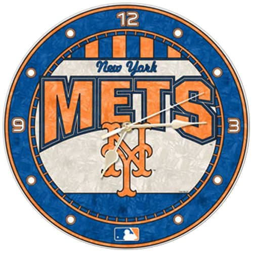 New York Mets Art-Glass Wall Clock