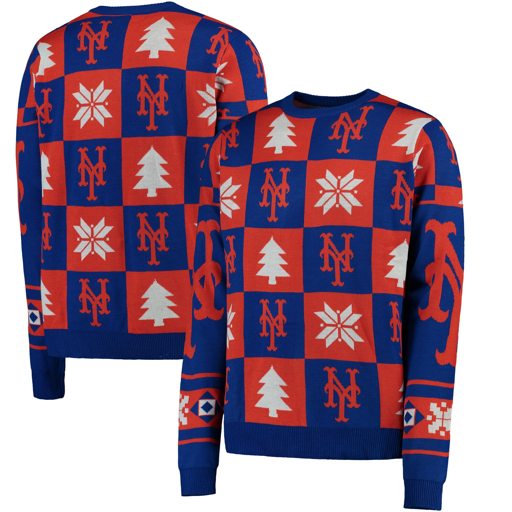 New York Mets Patches Ugly Pullover Sweater - Royal