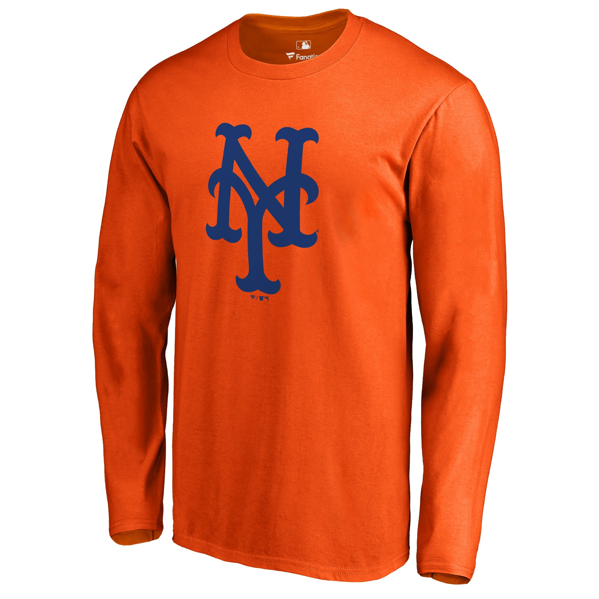 New York Mets Secondary Color Primary Logo Long Sleeve T-Shirt - Orange