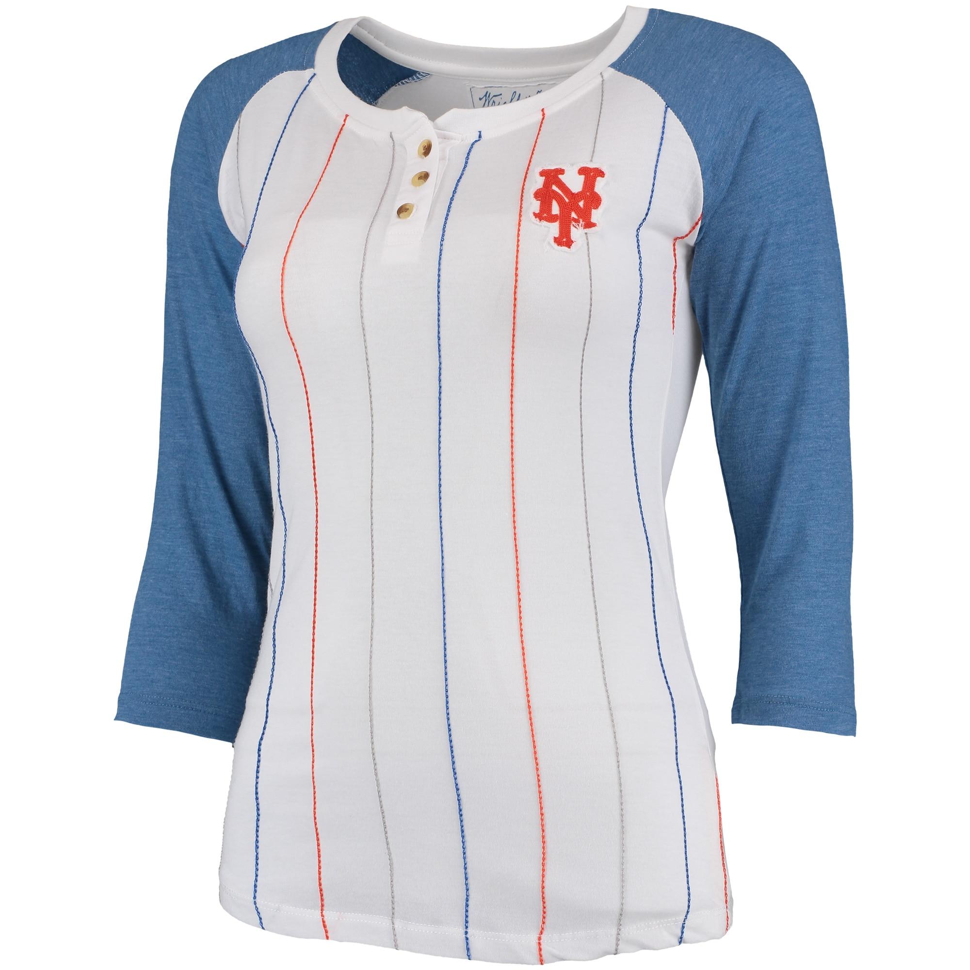 New York Mets Wright & Ditson Women's Lockhart 3/4-Sleeve Raglan Pinstripe T-Shirt - White/Royal