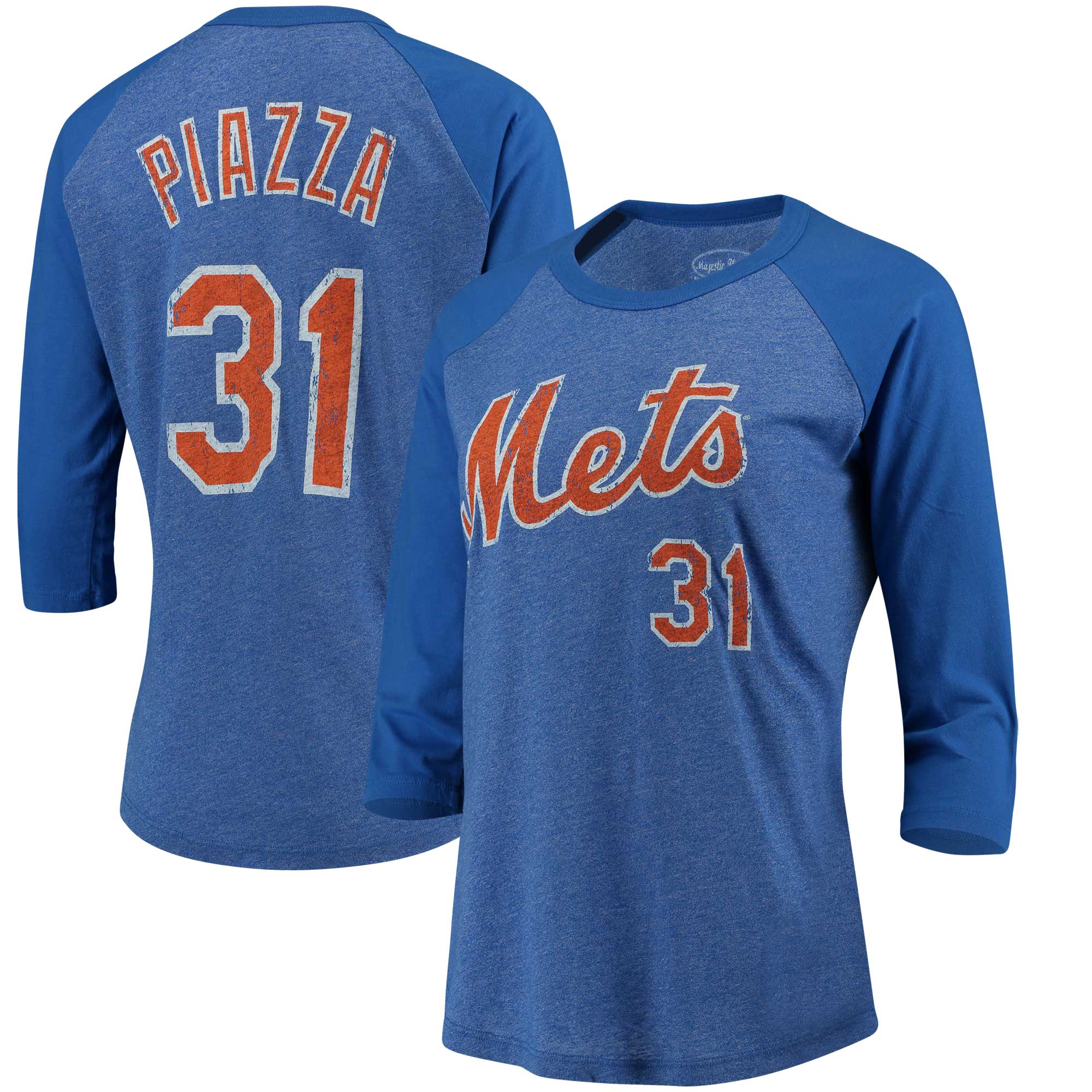 Mike Piazza New York Mets Majestic Threads Women's Name and Number Three-Quarter Sleeve T-Shirt - Royal