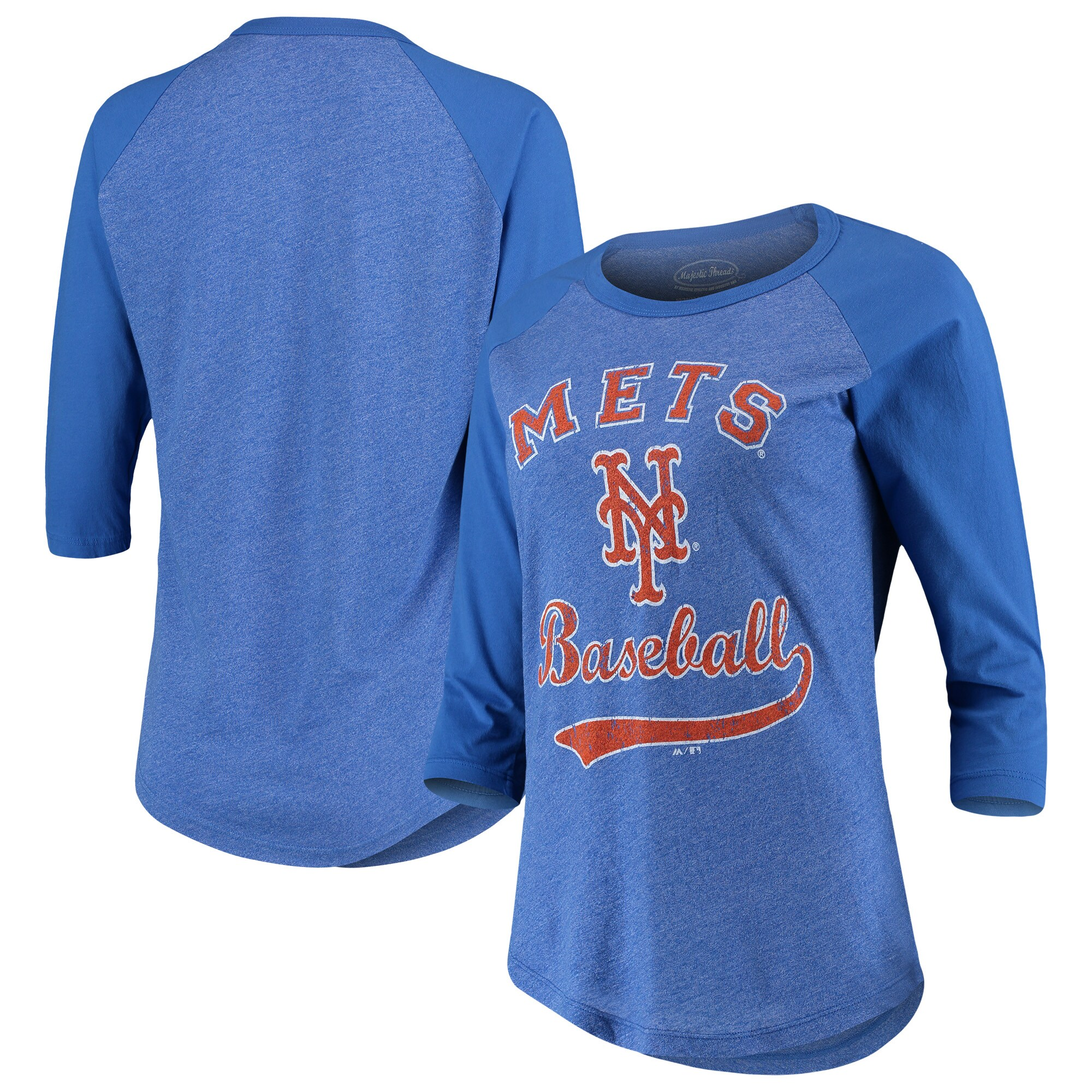 New York Mets Majestic Threads Women's Team Baseball Three-Quarter Raglan Sleeve Tri-Blend T-Shirt - Royal
