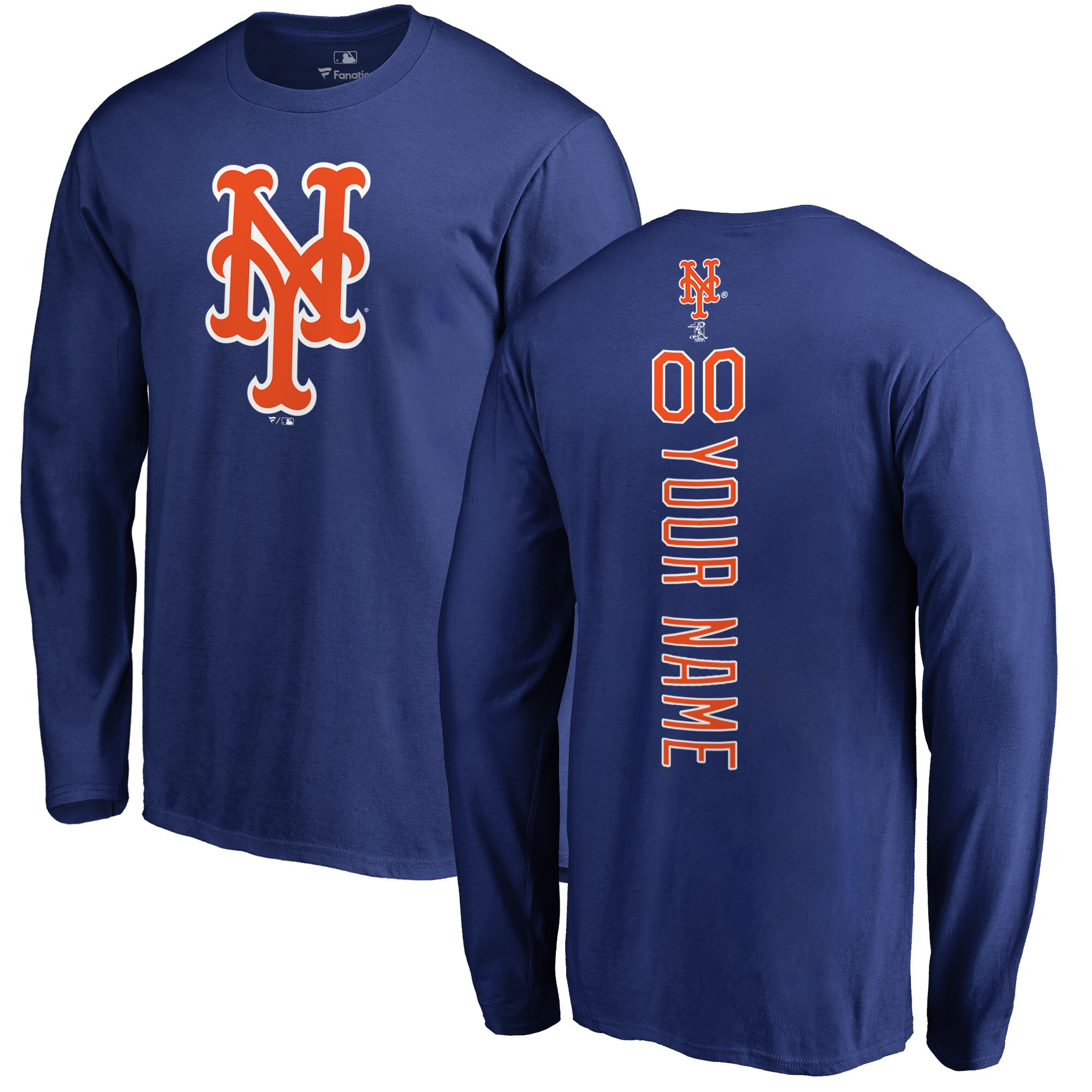 New York Mets Fanatics Branded Personalized Playmaker Long Sleeve T-Shirt - Royal