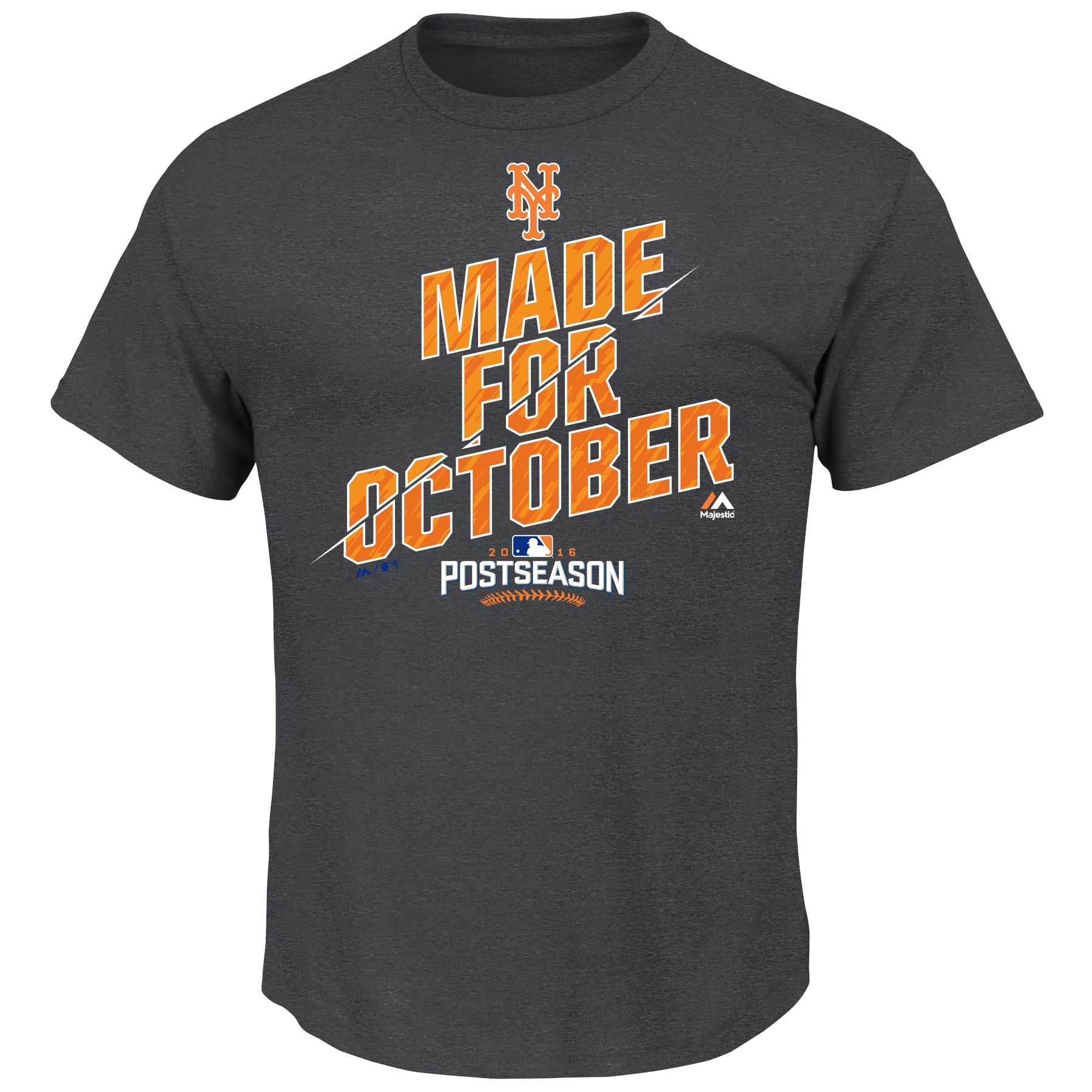 New York Mets Majestic 2016 Postseason Wild Card Clinch Locker Room T-Shirt - Charcoal