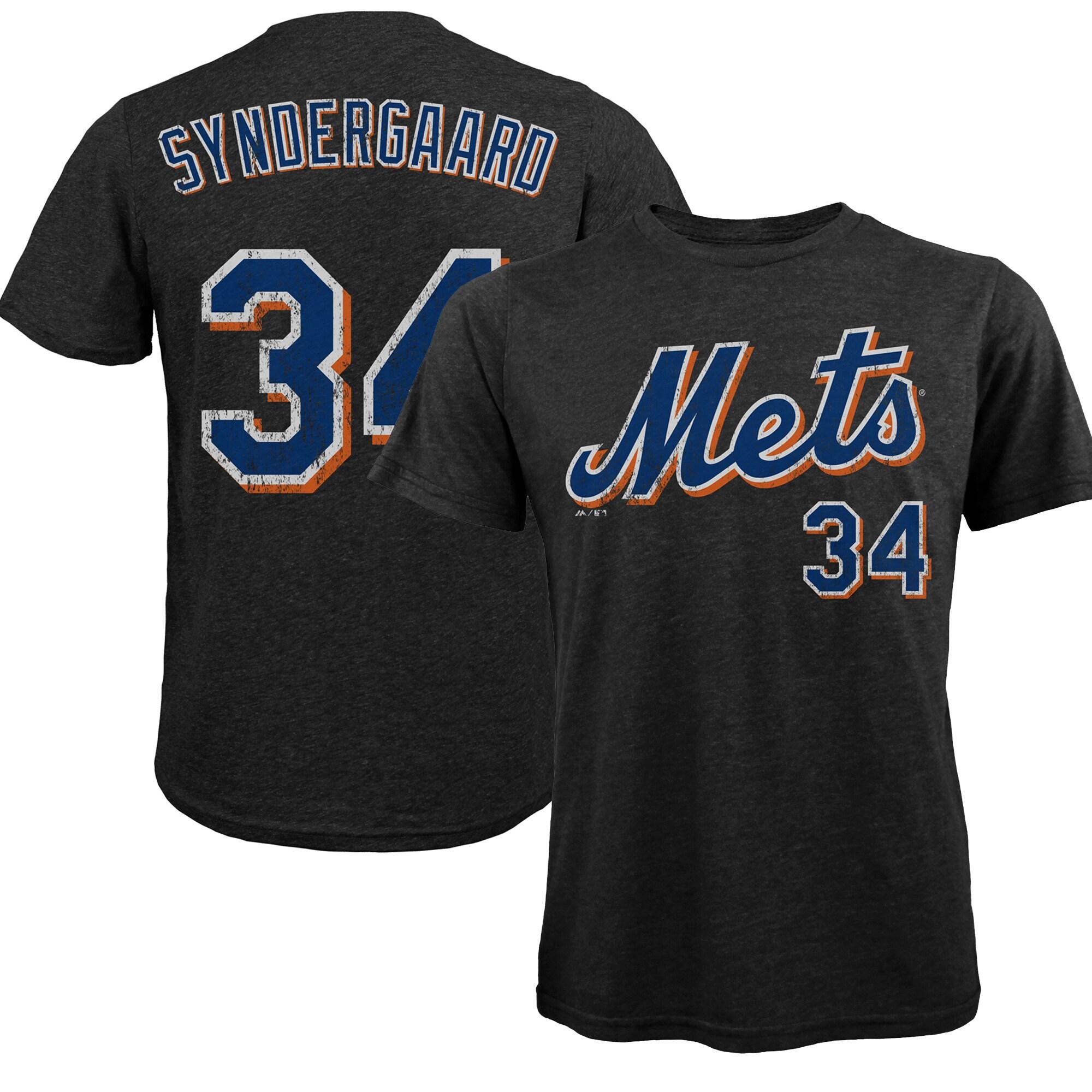 Noah Syndergaard New York Mets Majestic Threads Premium Tri-Blend Name & Number T-Shirt - Black
