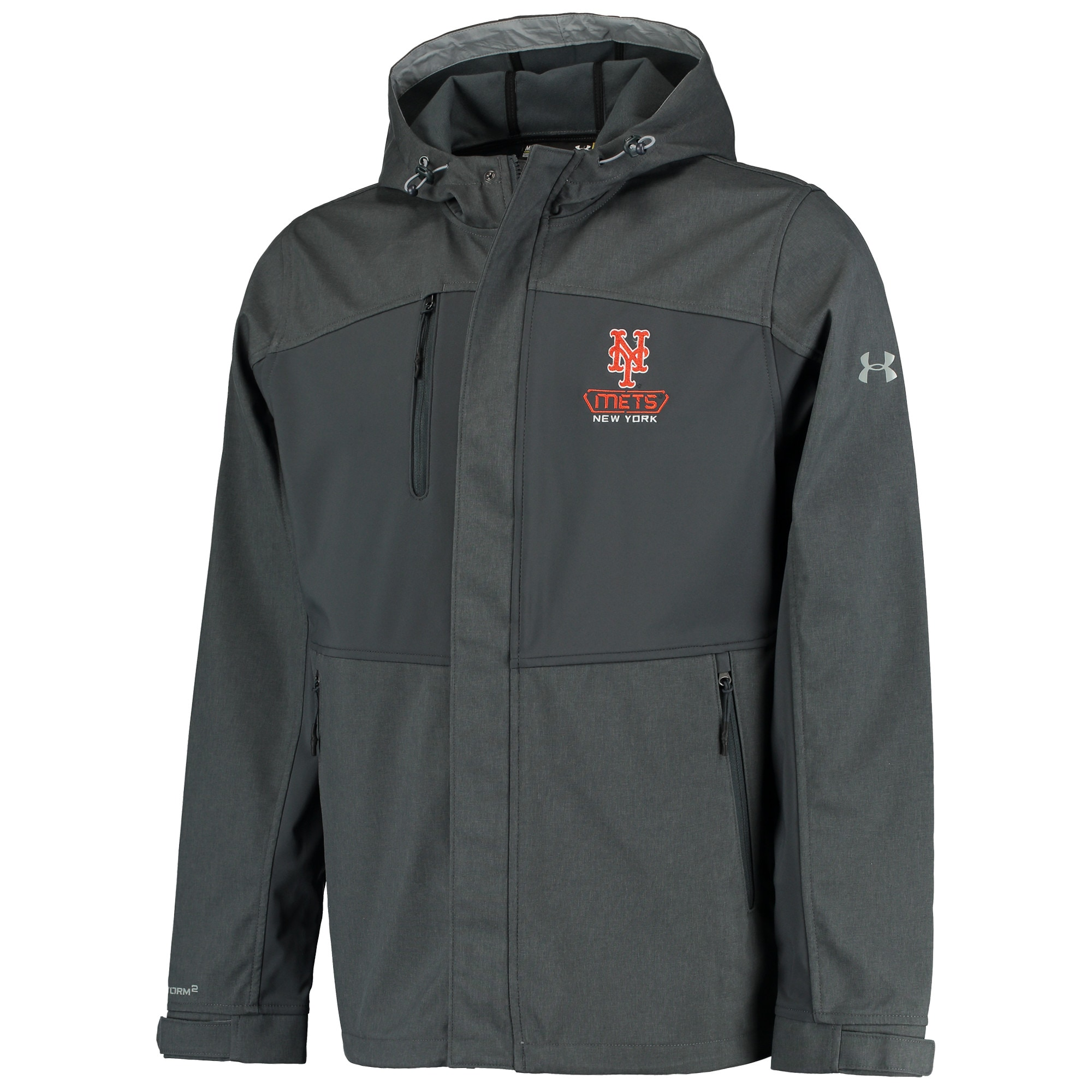New York Mets Under Armour Mix Softshell Performance Hooded Jacket - Charcoal
