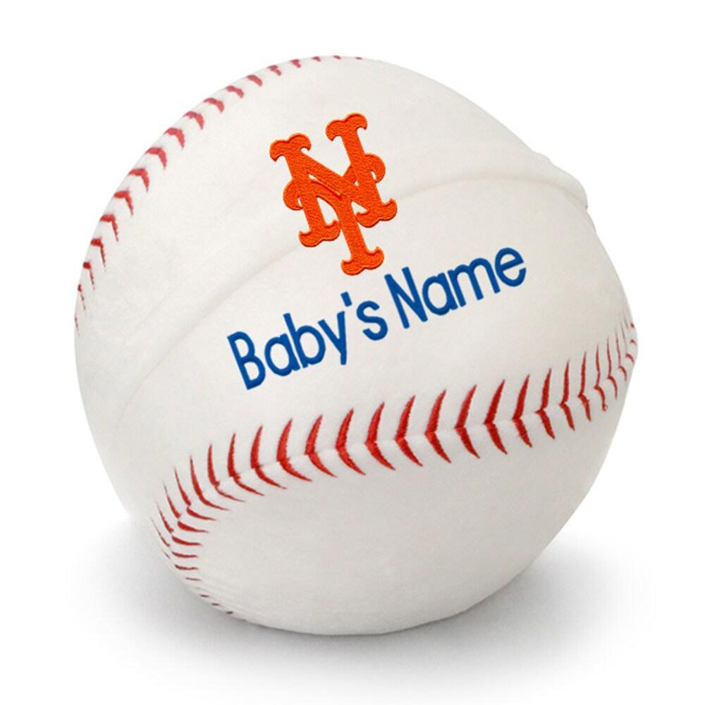 New York Mets Personalized Plush Baby Baseball - White