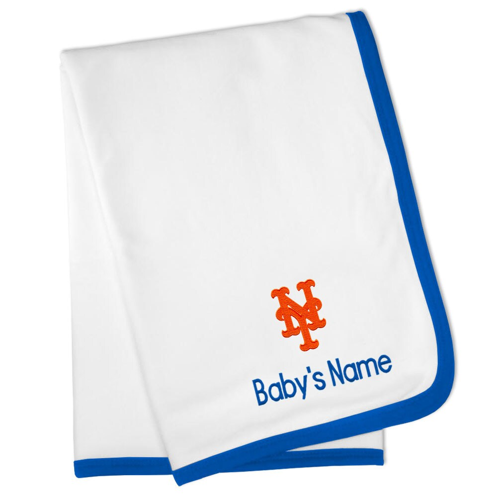 New York Mets Personalized Baby Blanket - White