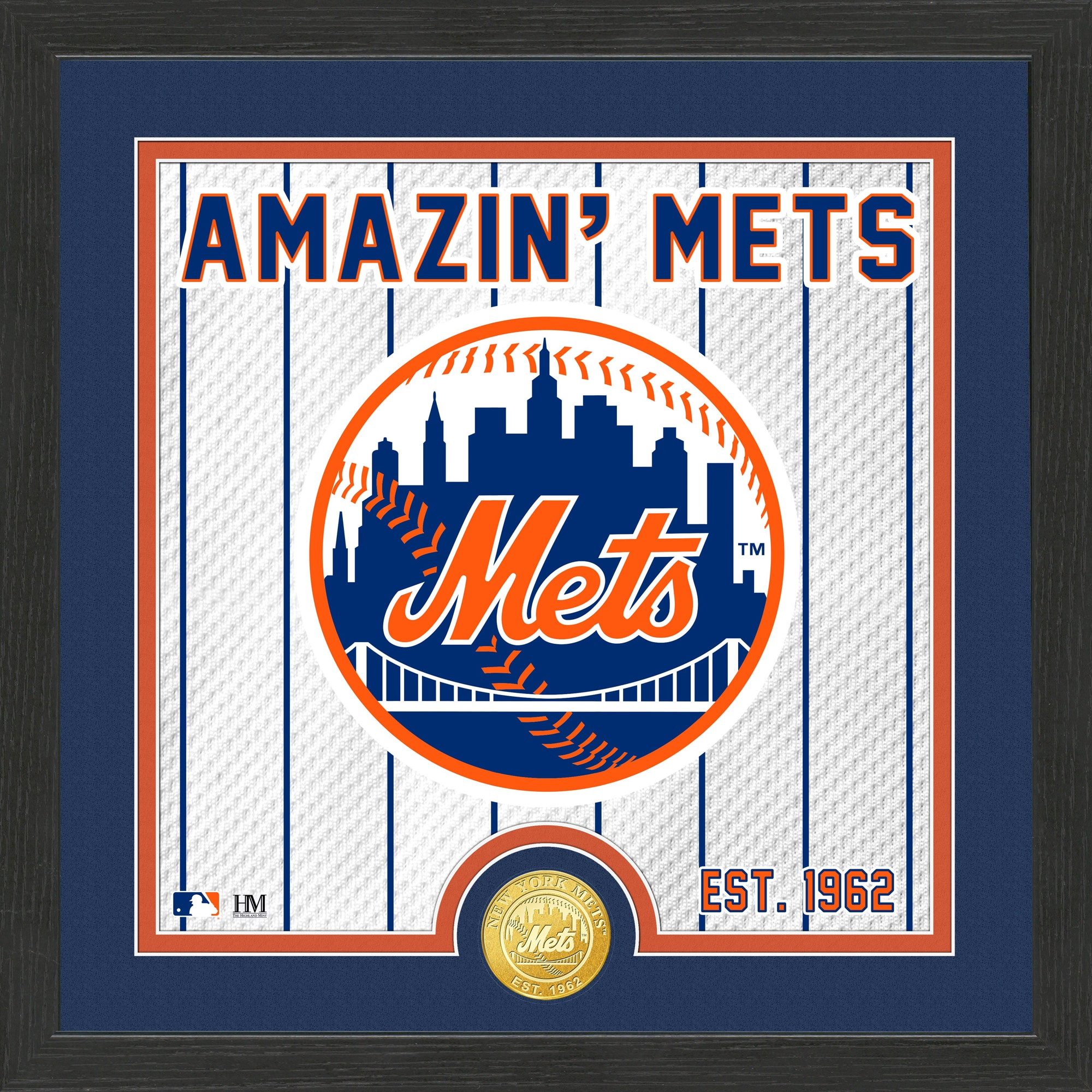 New York Mets Highland Mint 13'' x 13'' Battle Cry Bronze Coin Photo Mint