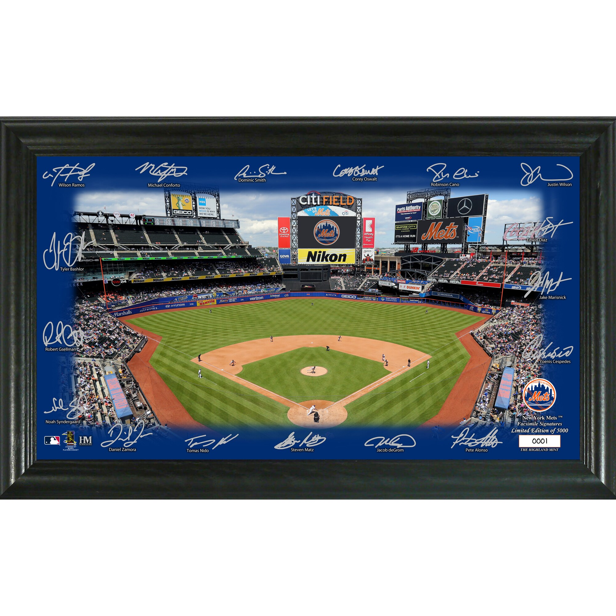 New York Mets Highland Mint 12'' x 20'' Signature Field Limited Editon Framed Photo Mint