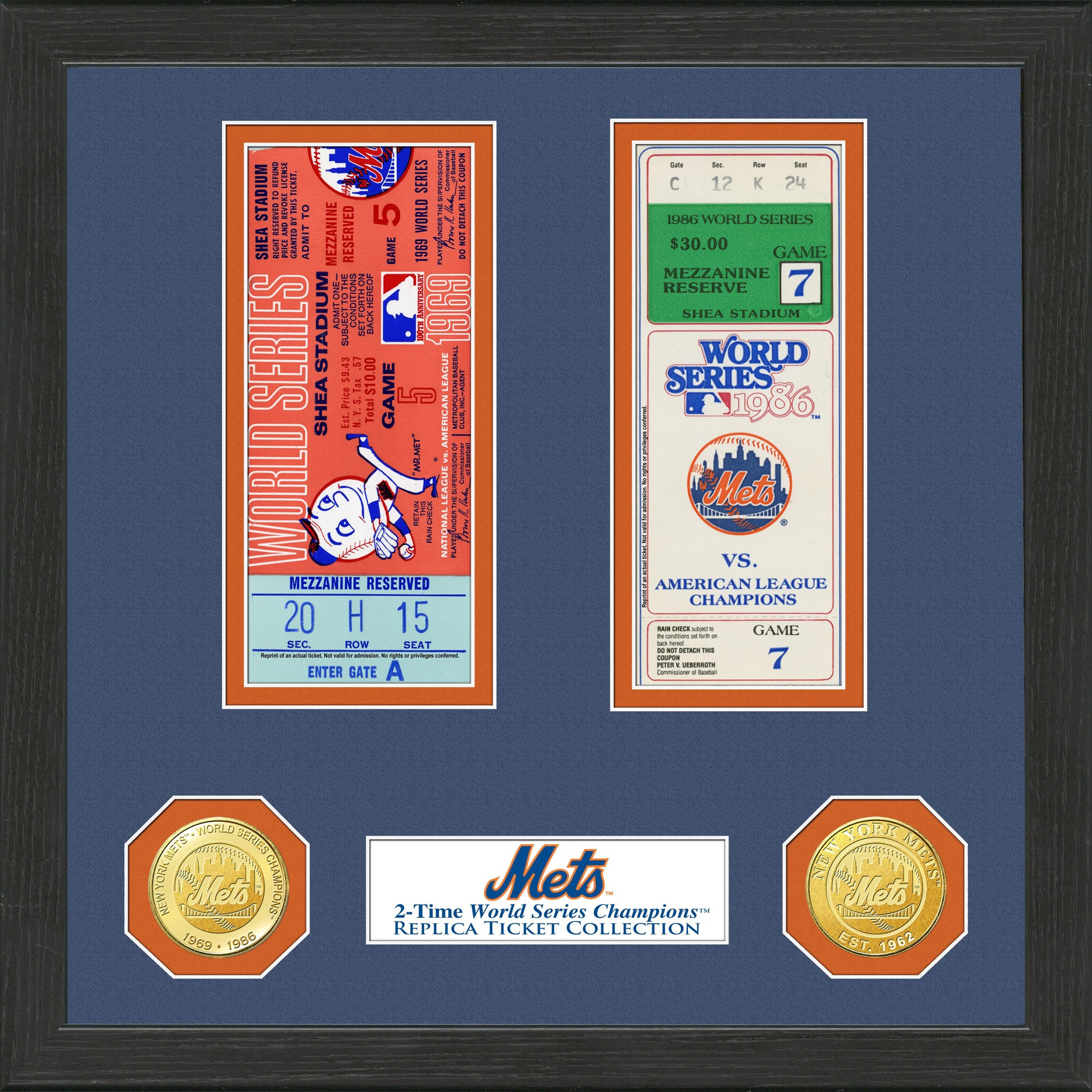 "New York Mets Highland Mint 13"" x 13"" World Series Ticket Collection"