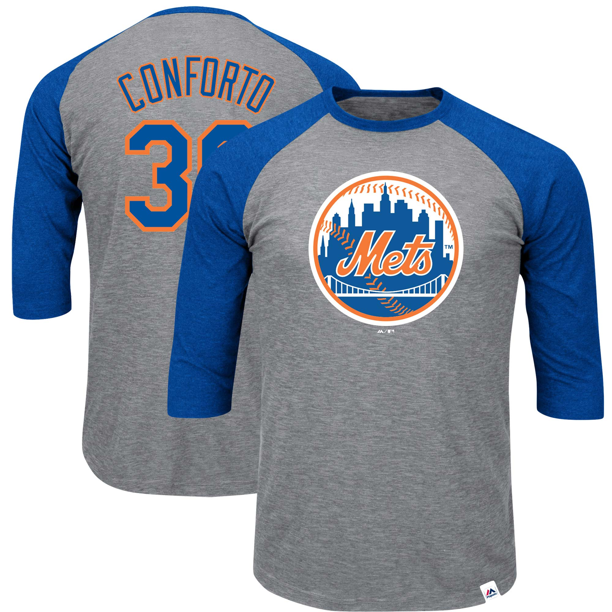 Michael Conforto New York Mets Majestic Big & Tall Player Raglan 3/4-Sleeve T-Shirt - Heathered Gray/Royal