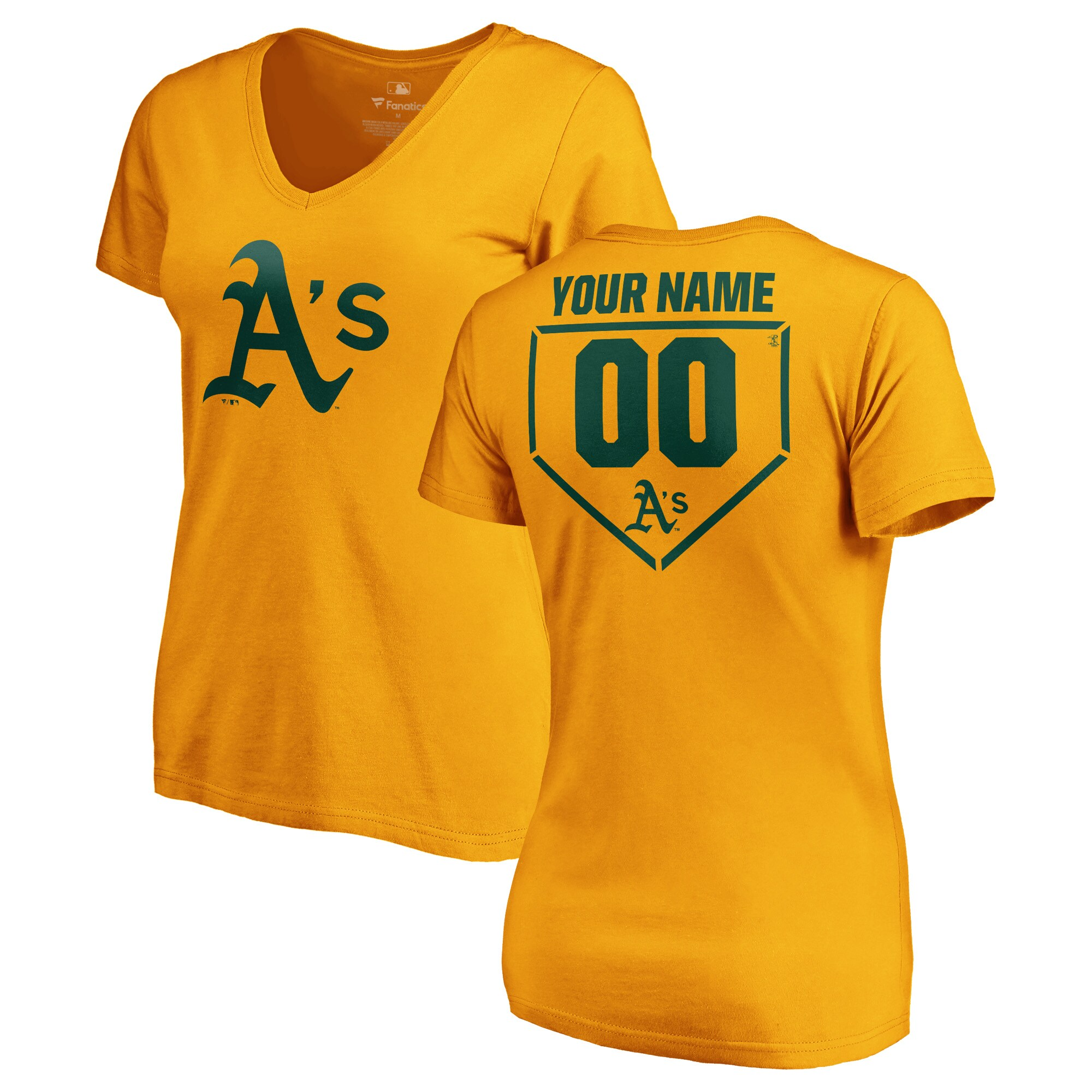 Oakland Athletics Fanatics Branded Women's Personalized RBI Slim Fit V-Neck T-Shirt - Gold