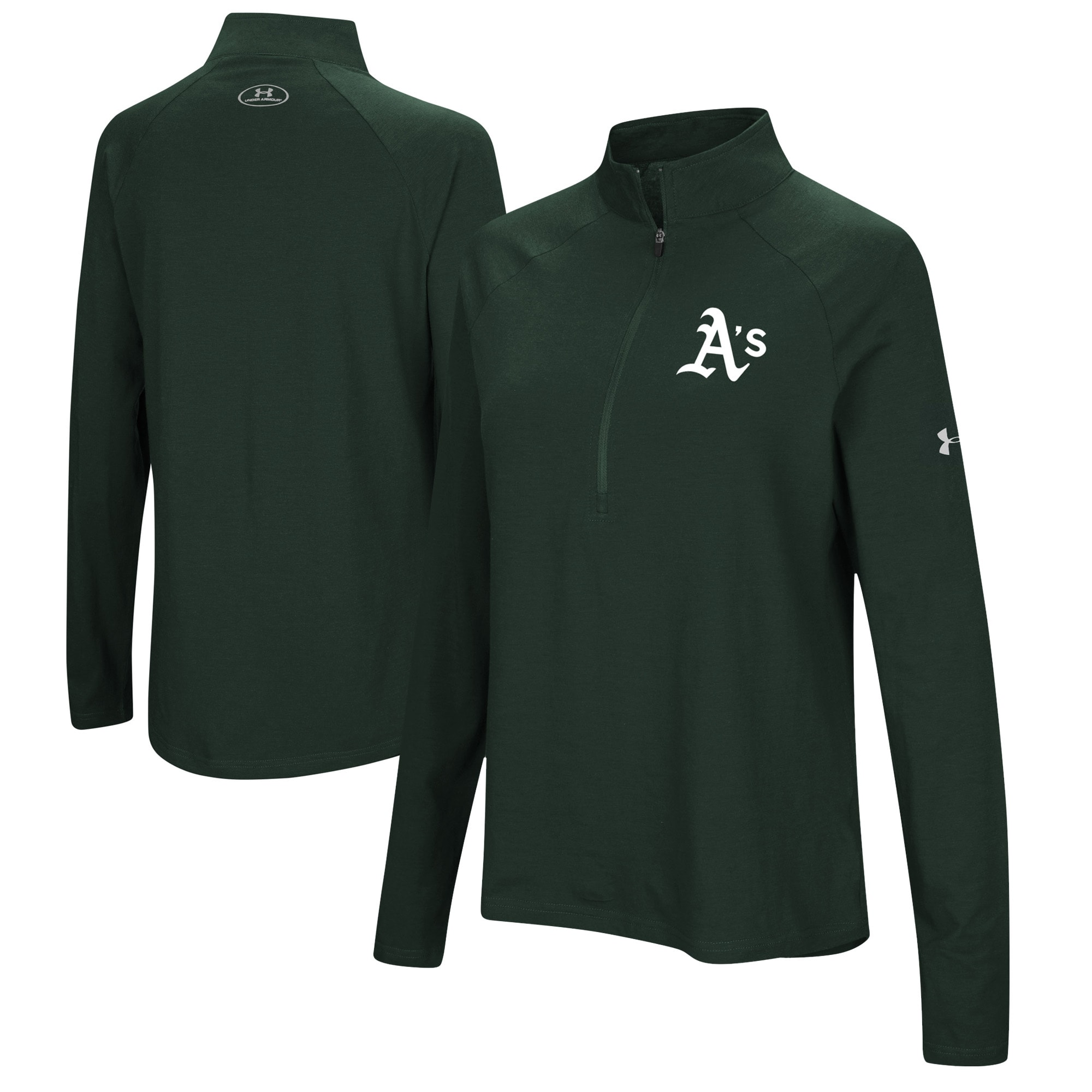 Oakland Athletics Under Armour Women's Passion Performance Tri-Blend Raglan Half-Zip Pullover Jacket - Green