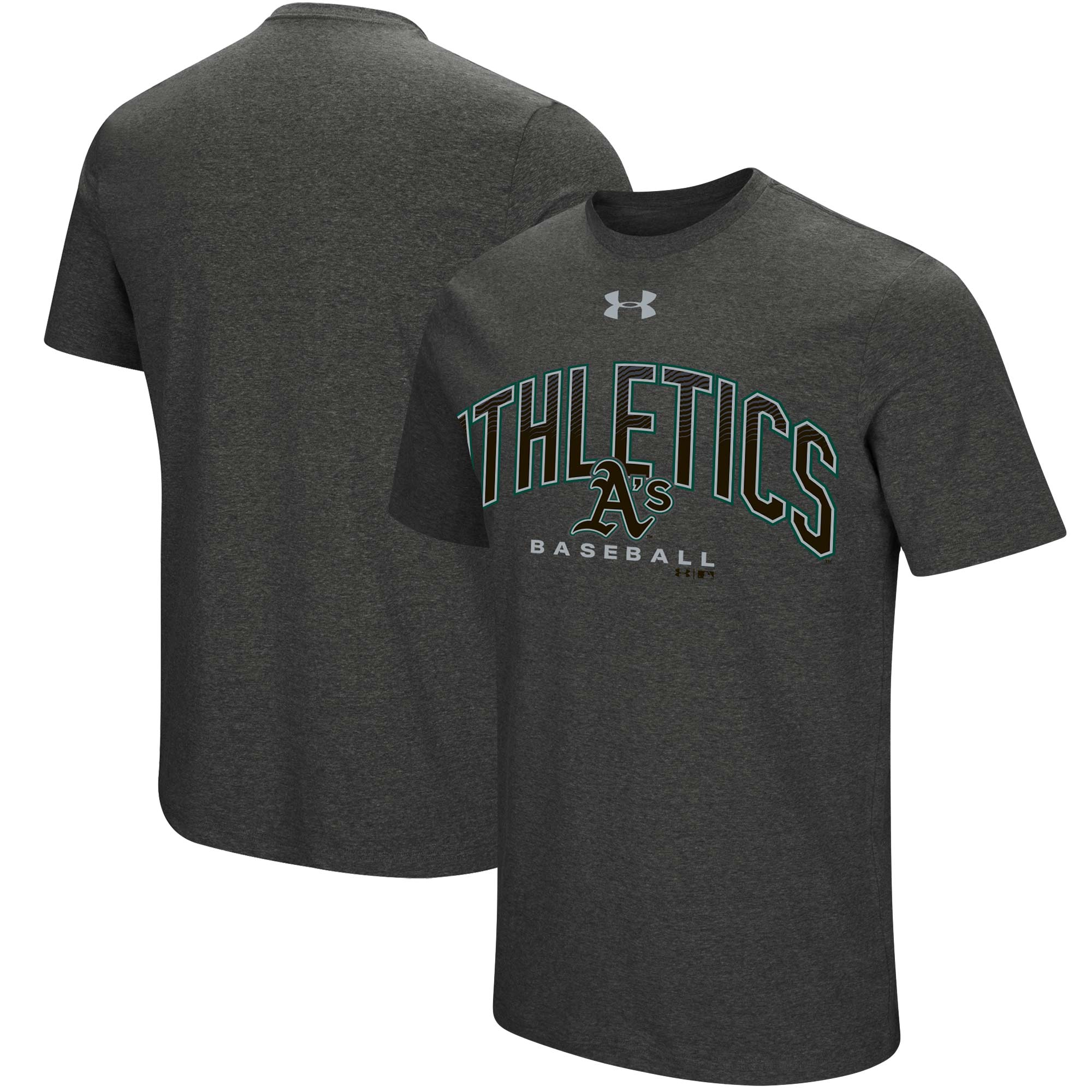 Oakland Athletics Under Armour Passion Reflective Arch T-Shirt - Heathered Charcoal