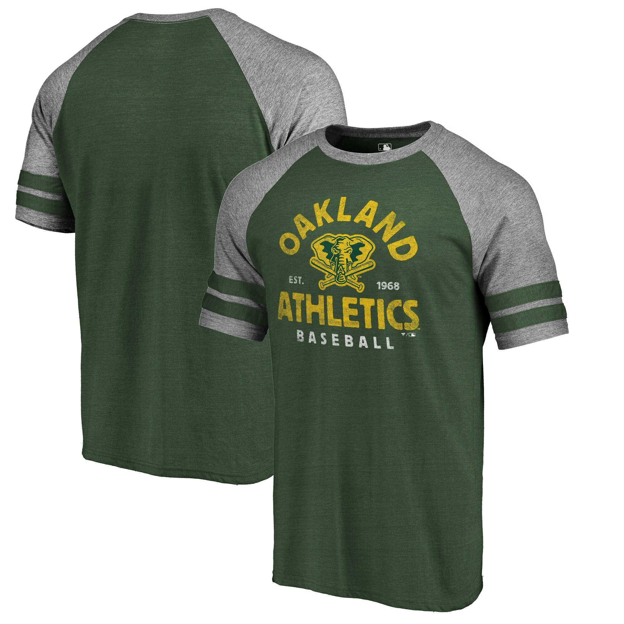 Oakland Athletics Fanatics Branded Cooperstown Collection Vintage Arch Tri-Blend Raglan T-Shirt - Green