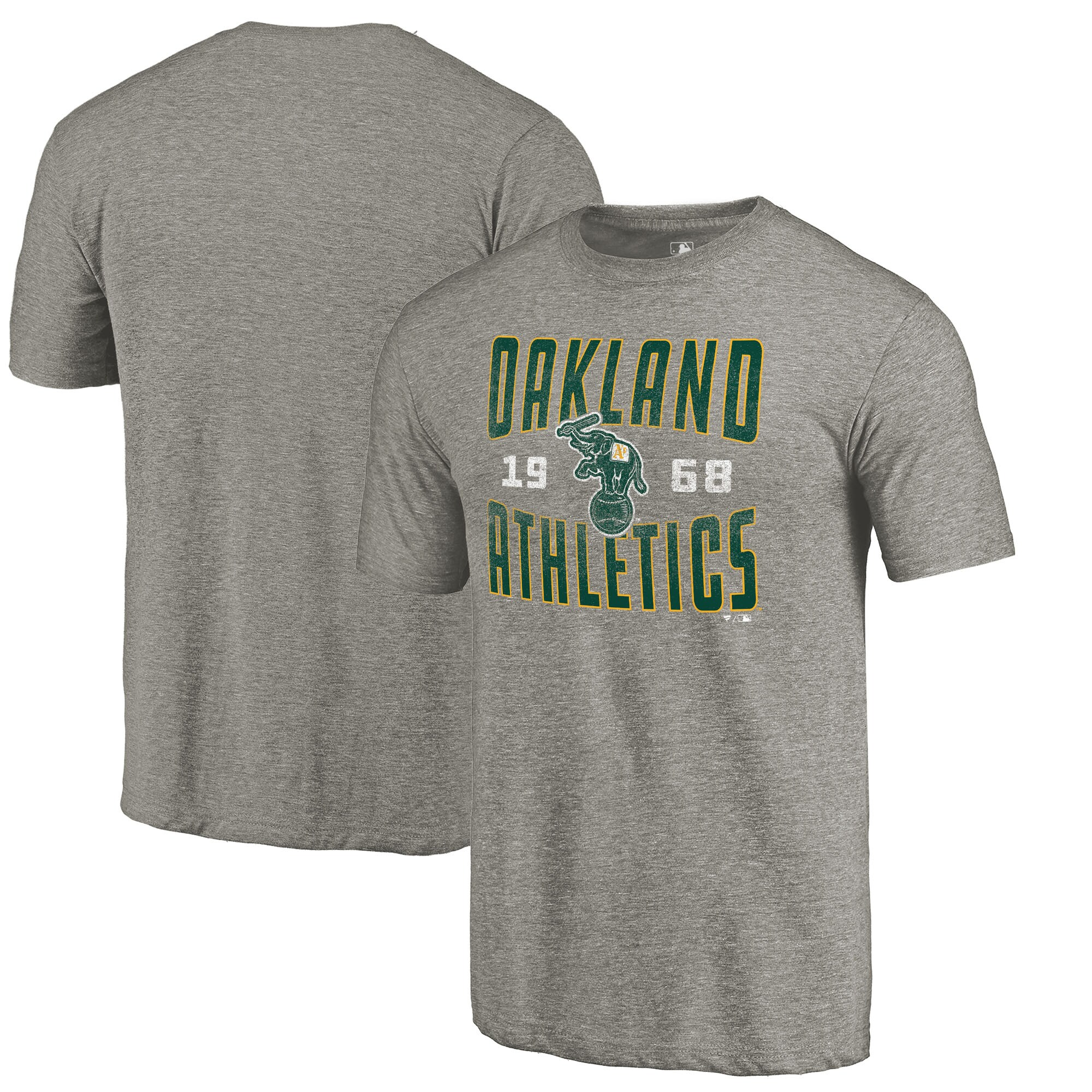 Oakland Athletics Fanatics Branded Cooperstown Collection Antique Stack Tri-Blend T-Shirt - Gray