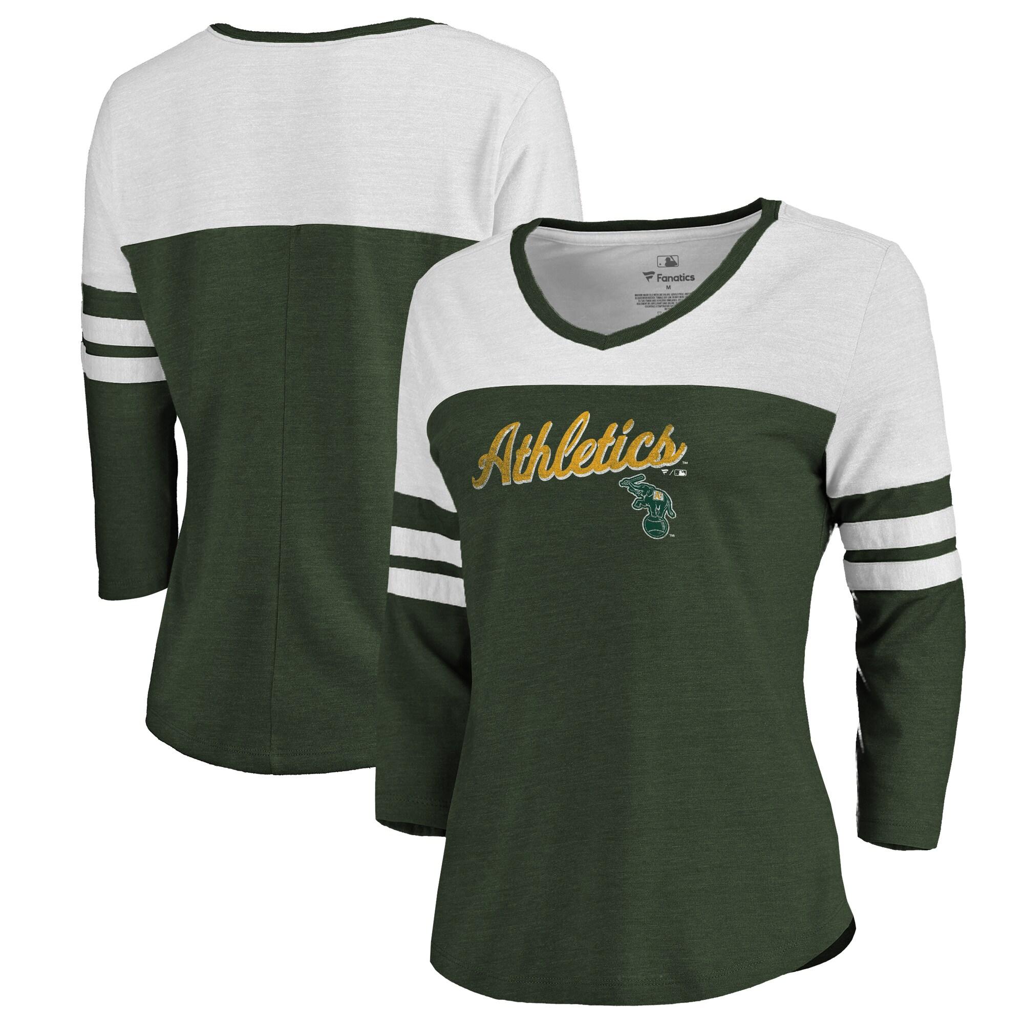 Fanatics Branded Oakland Athletics Women's Green Rising Script Color Block 3/4 Sleeve Tri-Blend T-Shirt