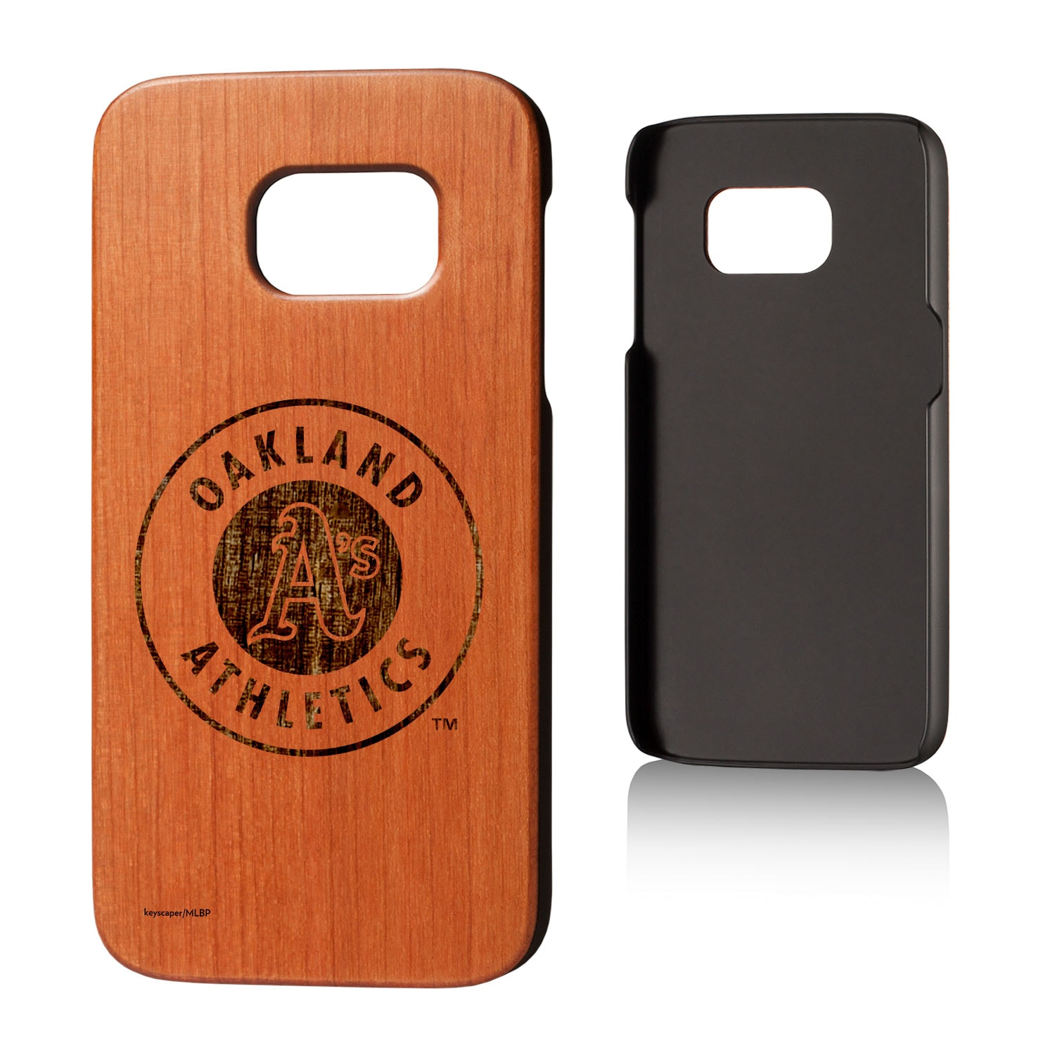 Oakland Athletics Galaxy S7 Branded Logo Cherry Wood Case