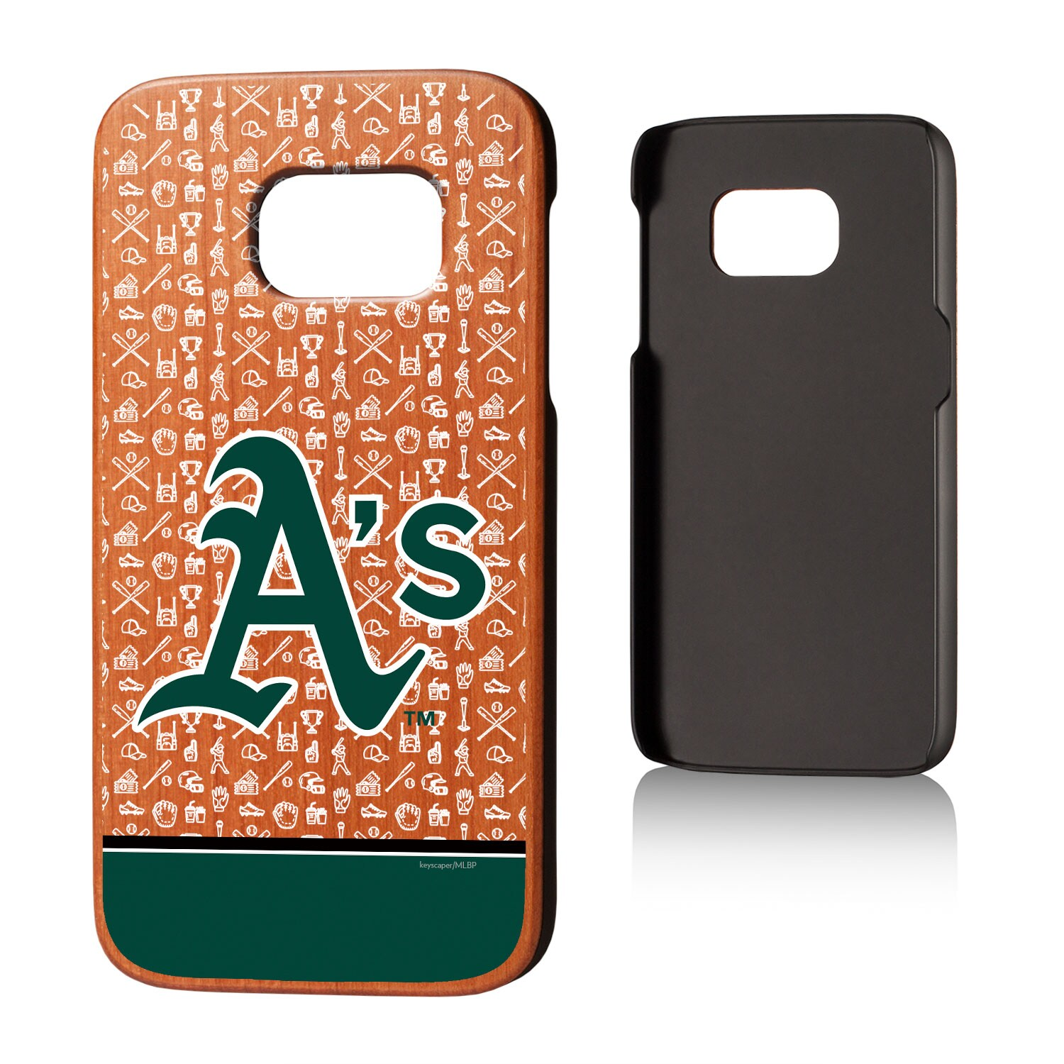 Oakland Athletics Galaxy S7 Stripe Logo Cherry Wood Case
