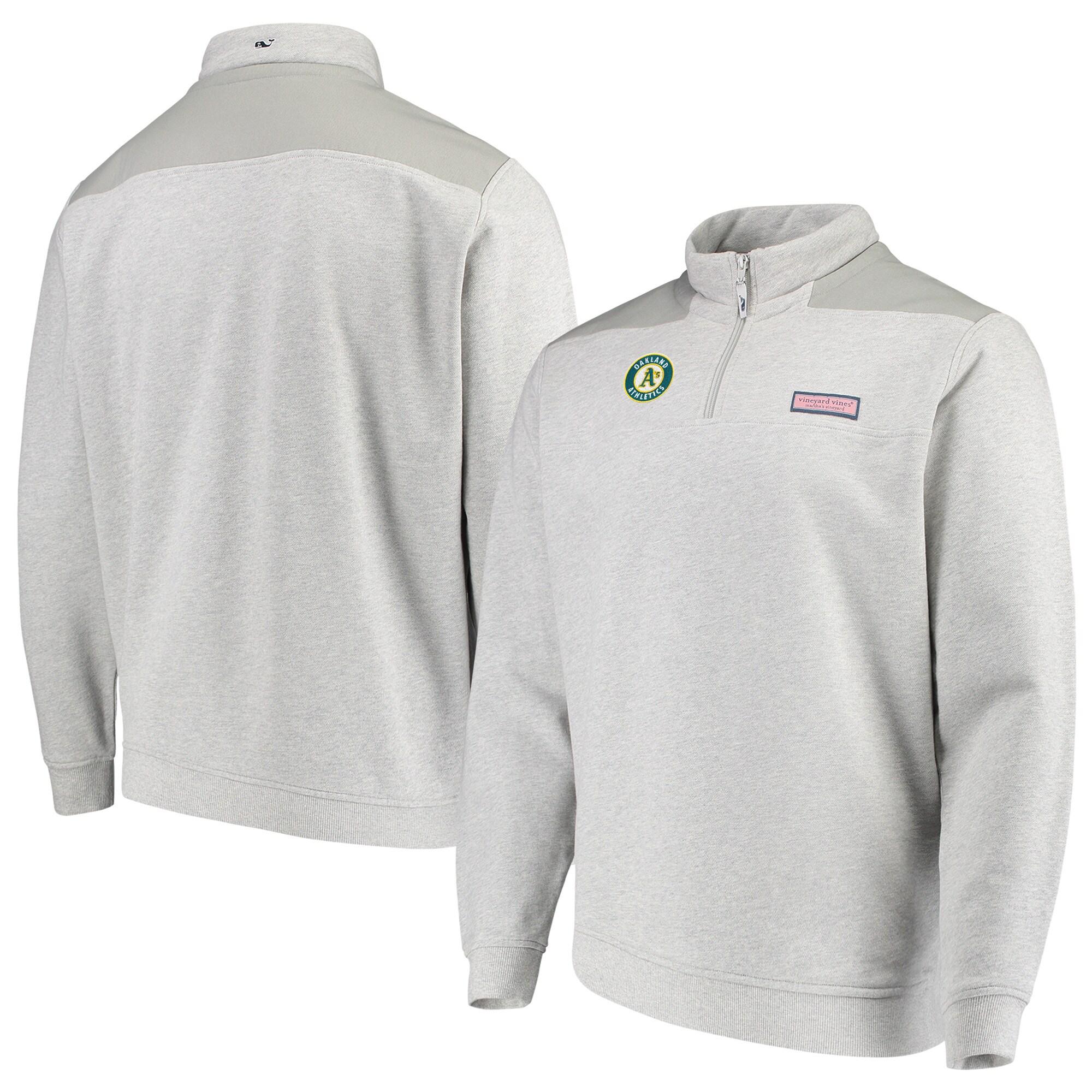 Oakland Athletics Vineyard Vines Shep Shirt Quarter-Zip Pullover Jacket - Gray