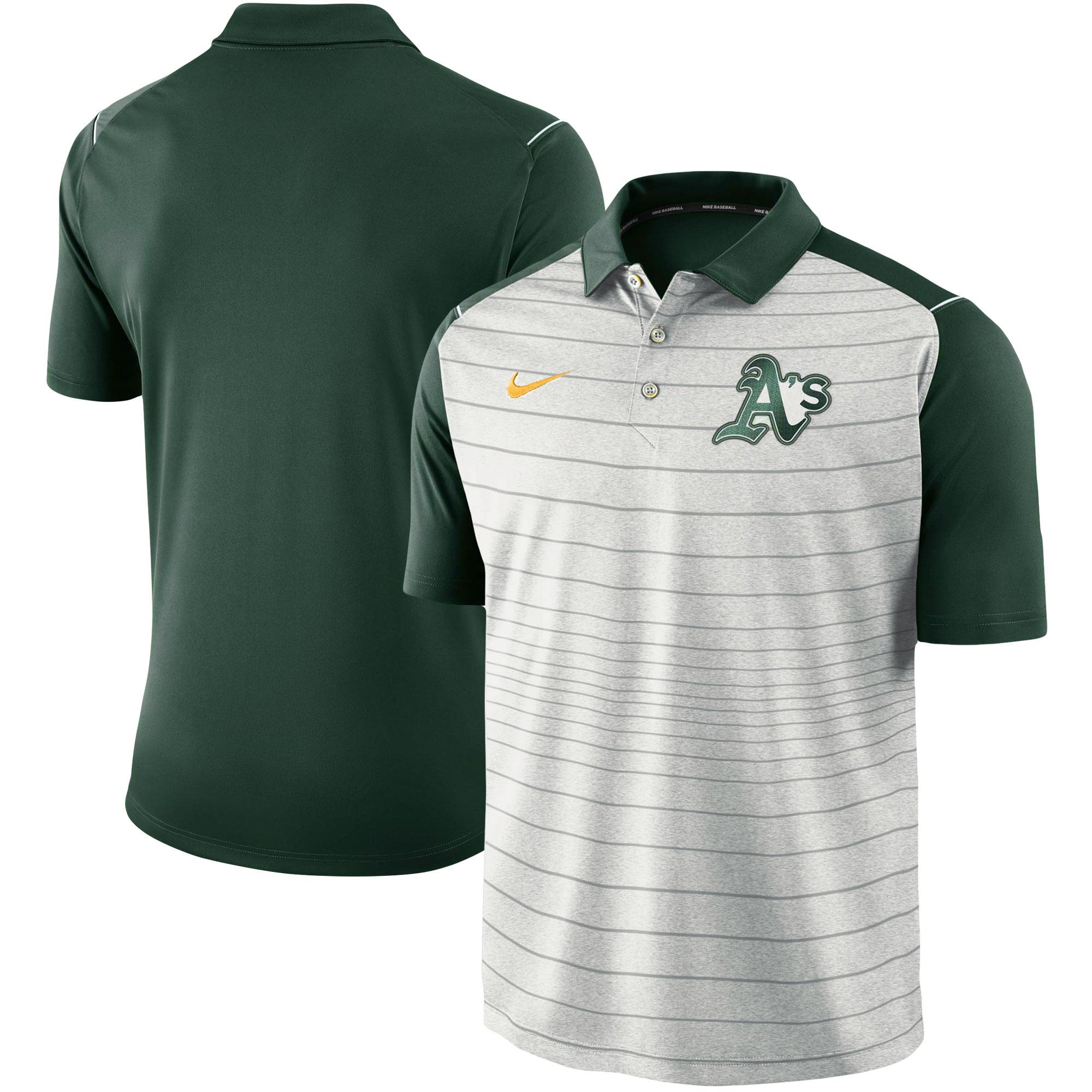 Oakland Athletics Nike Stripe Polo - Gray