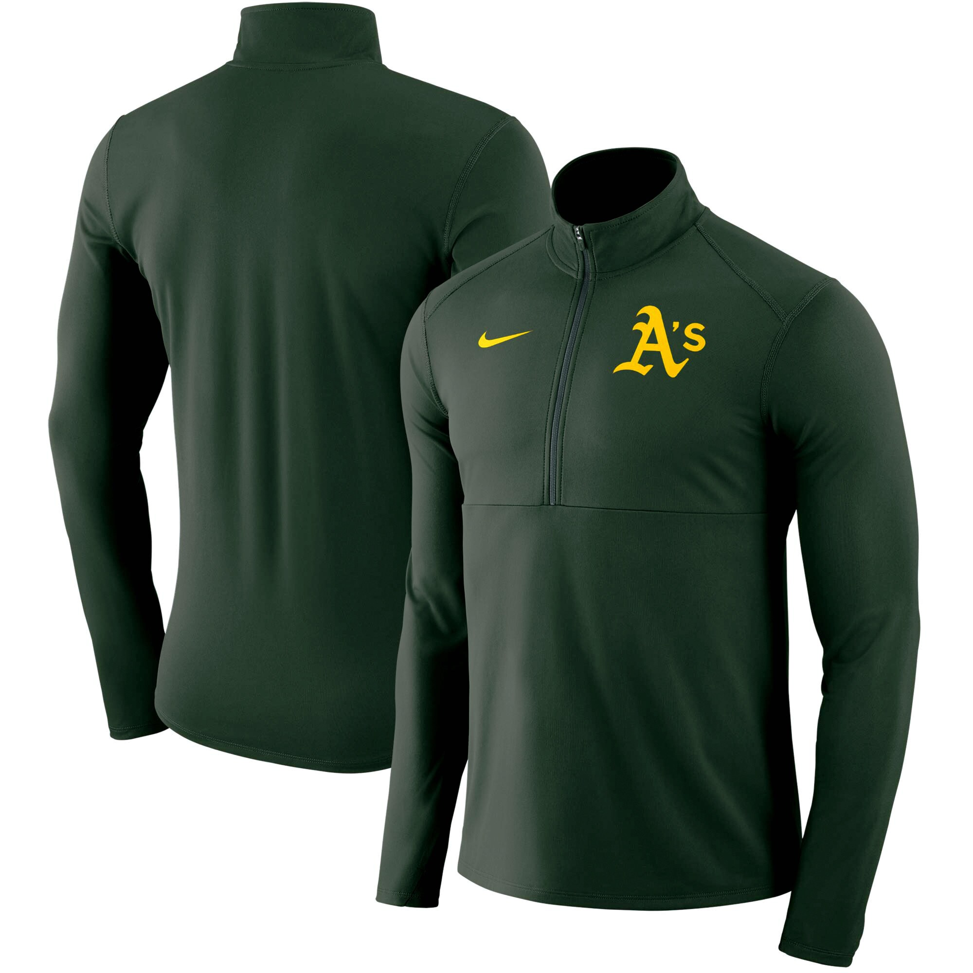 Oakland Athletics Nike Dry Element Half-Zip Performance Pullover - Green