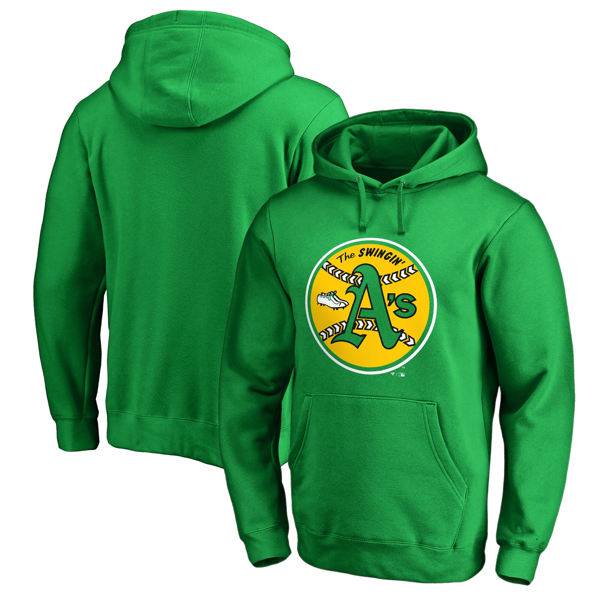 Oakland Athletics Fanatics Branded Cooperstown Collection Huntington Pullover Hoodie - Kelly Green