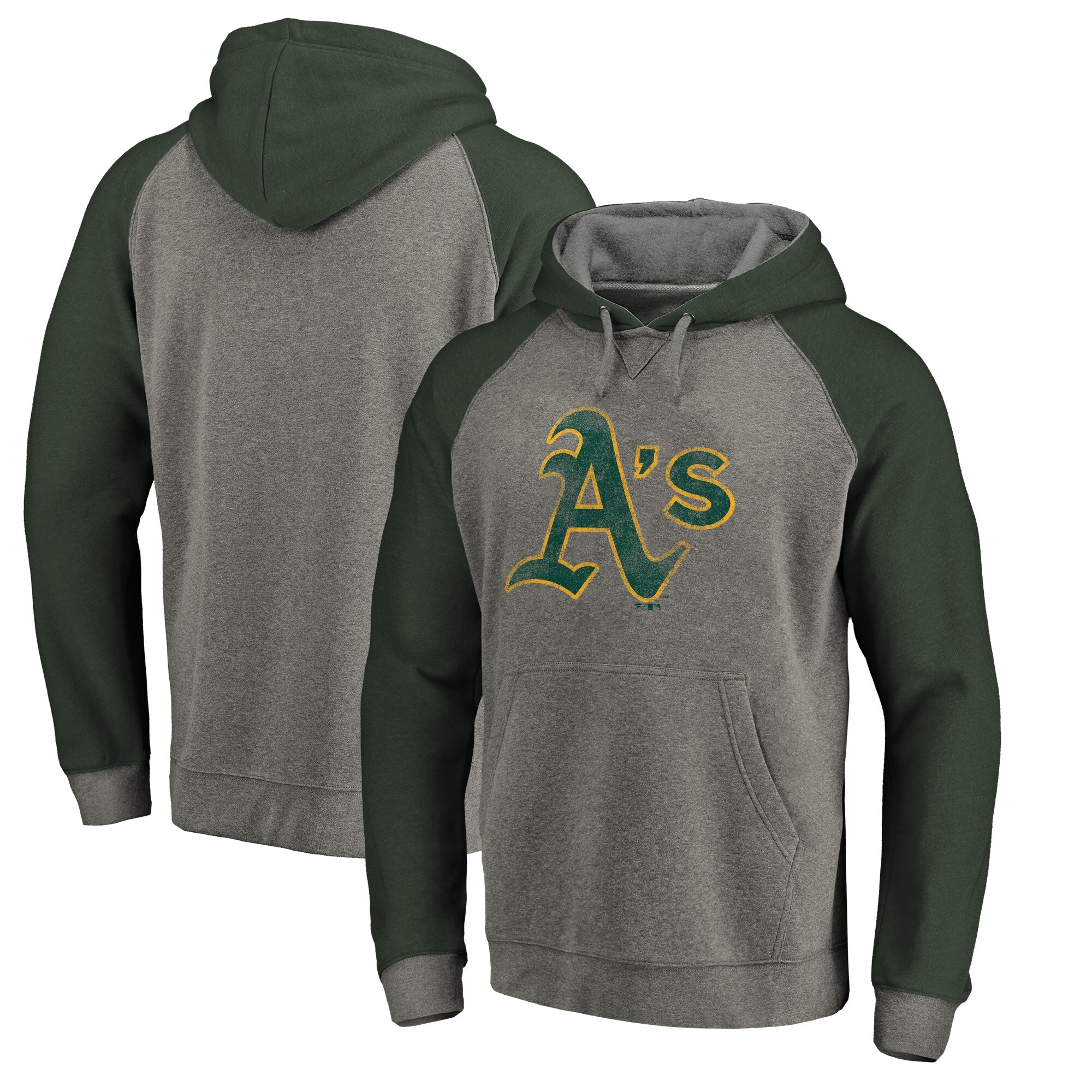Oakland Athletics Fanatics Branded Distressed Team Logo Tri-Blend Raglan Pullover Hoodie - Gray/Green