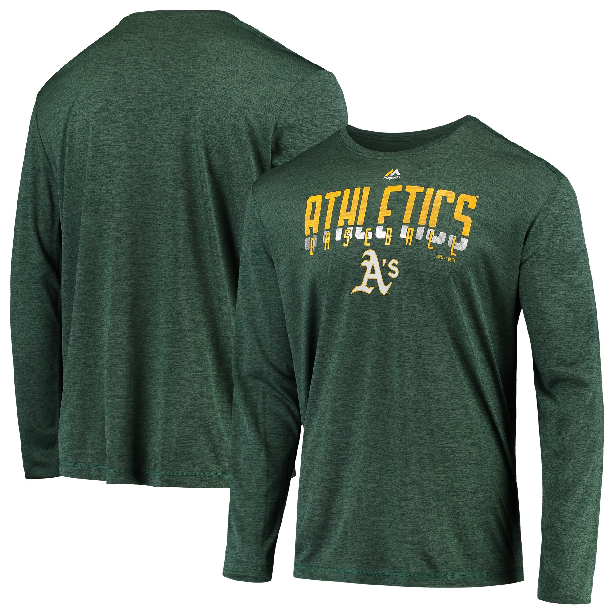Oakland Athletics Majestic Unstoppable Force Long Sleeve Cool Base T-Shirt - Green