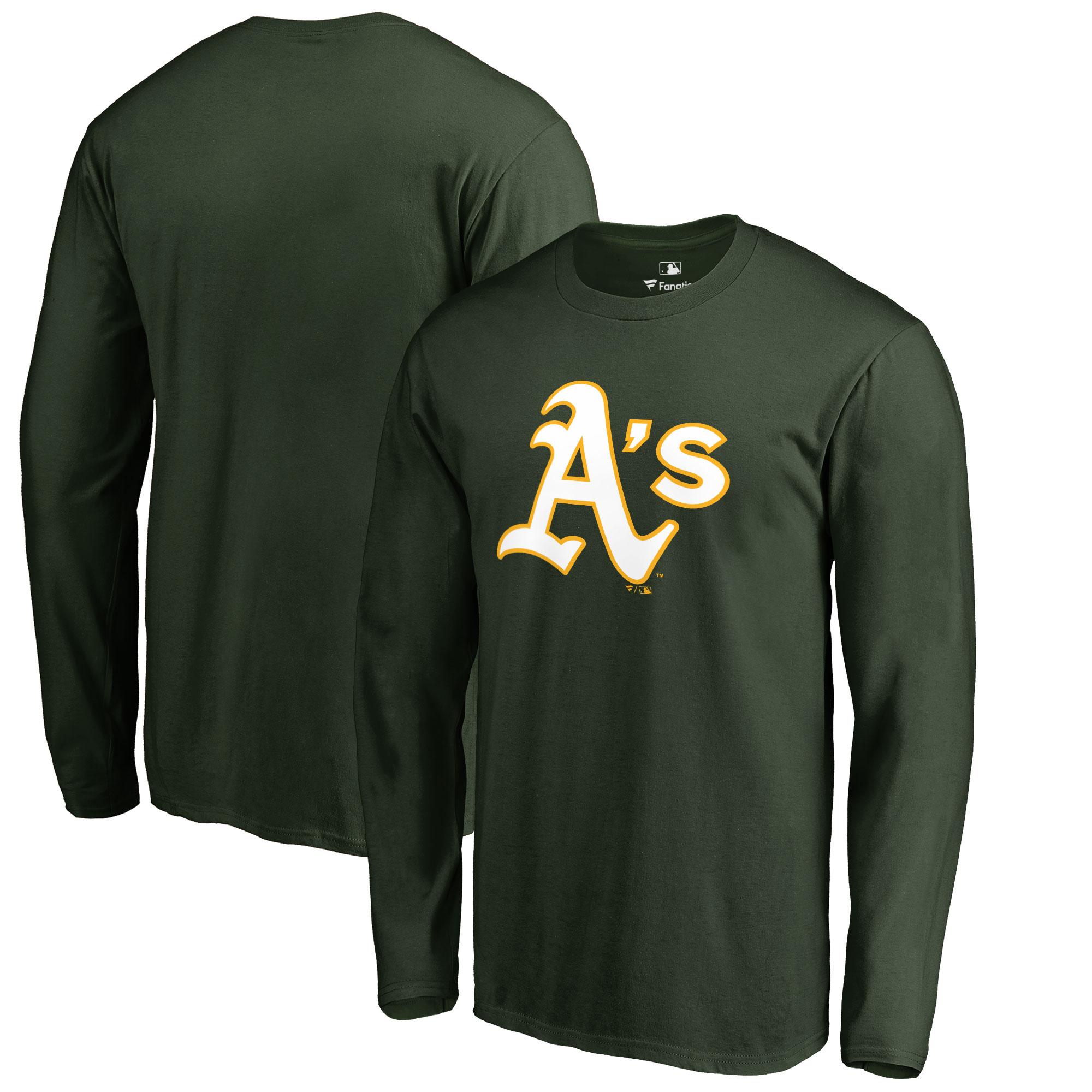 Oakland Athletics Big & Tall Primary Team Logo Long Sleeve T-Shirt - Green